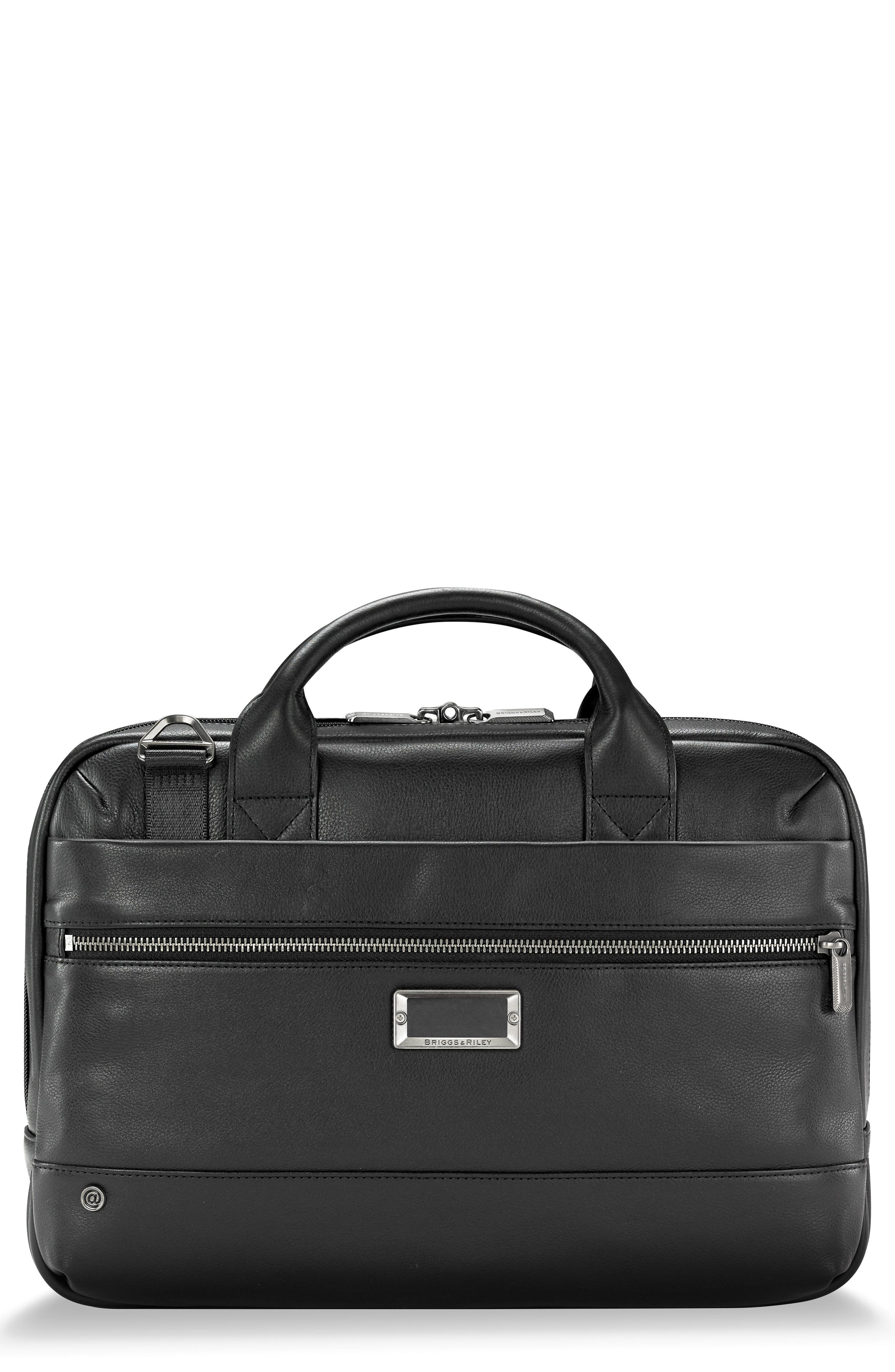 BRIGGS & RILEY,                             @work Slim Leather Laptop Briefcase,                             Main thumbnail 1, color,                             BLACK