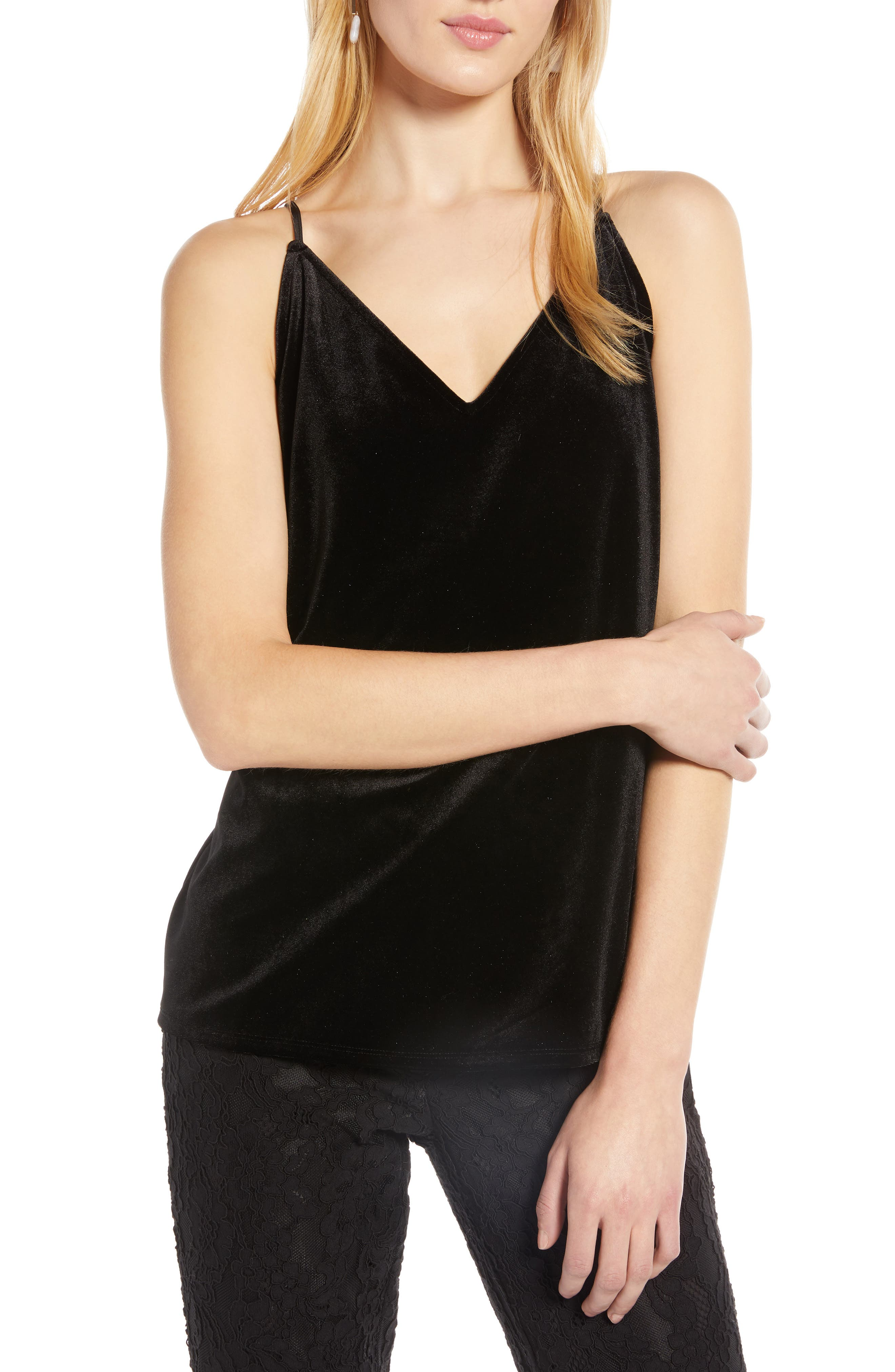 Velvet Camisole,                         Main,                         color, BLACK