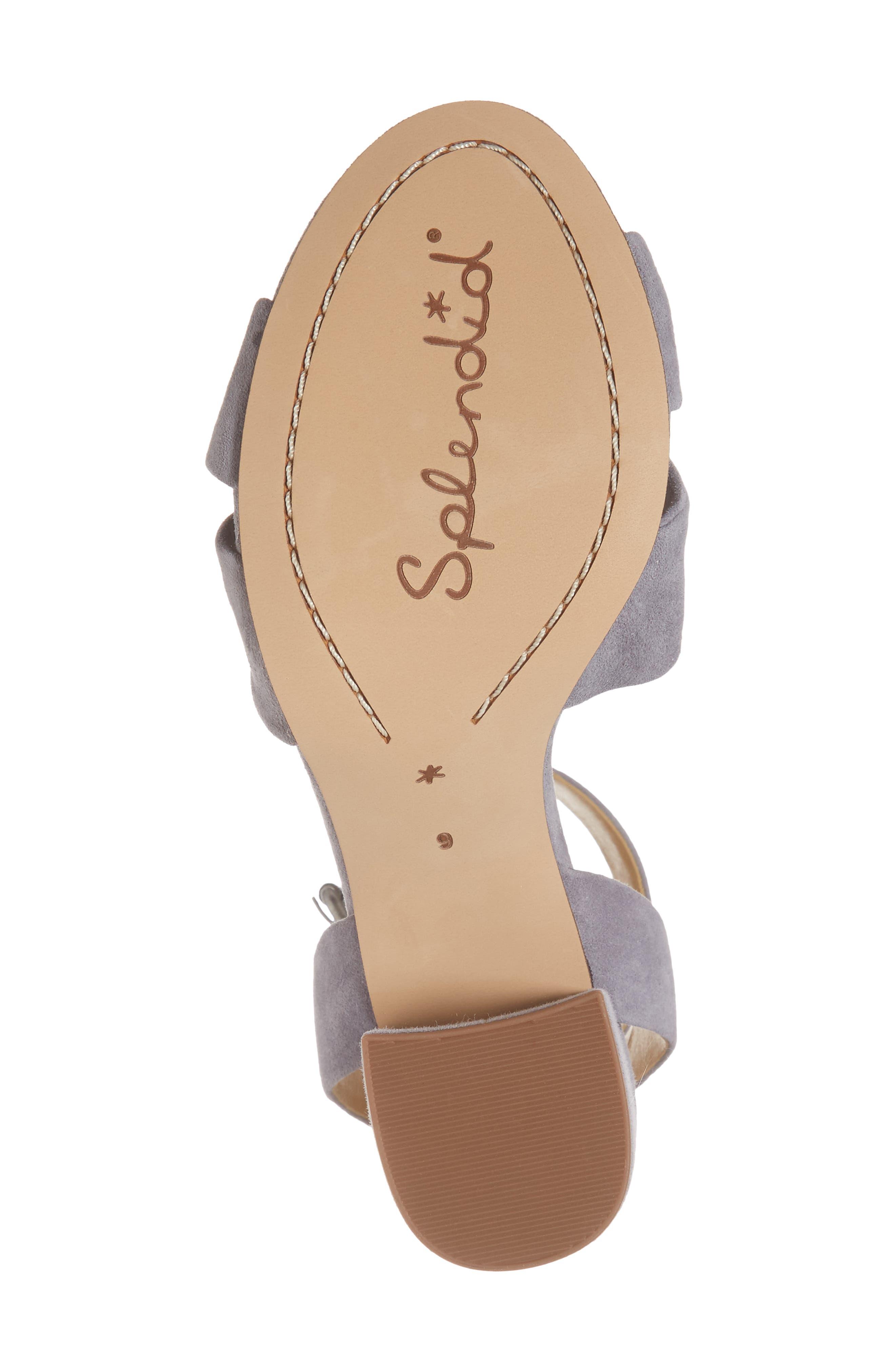 Fairy Block Heel Sandal,                             Alternate thumbnail 6, color,                             STEEL GREY SUEDE