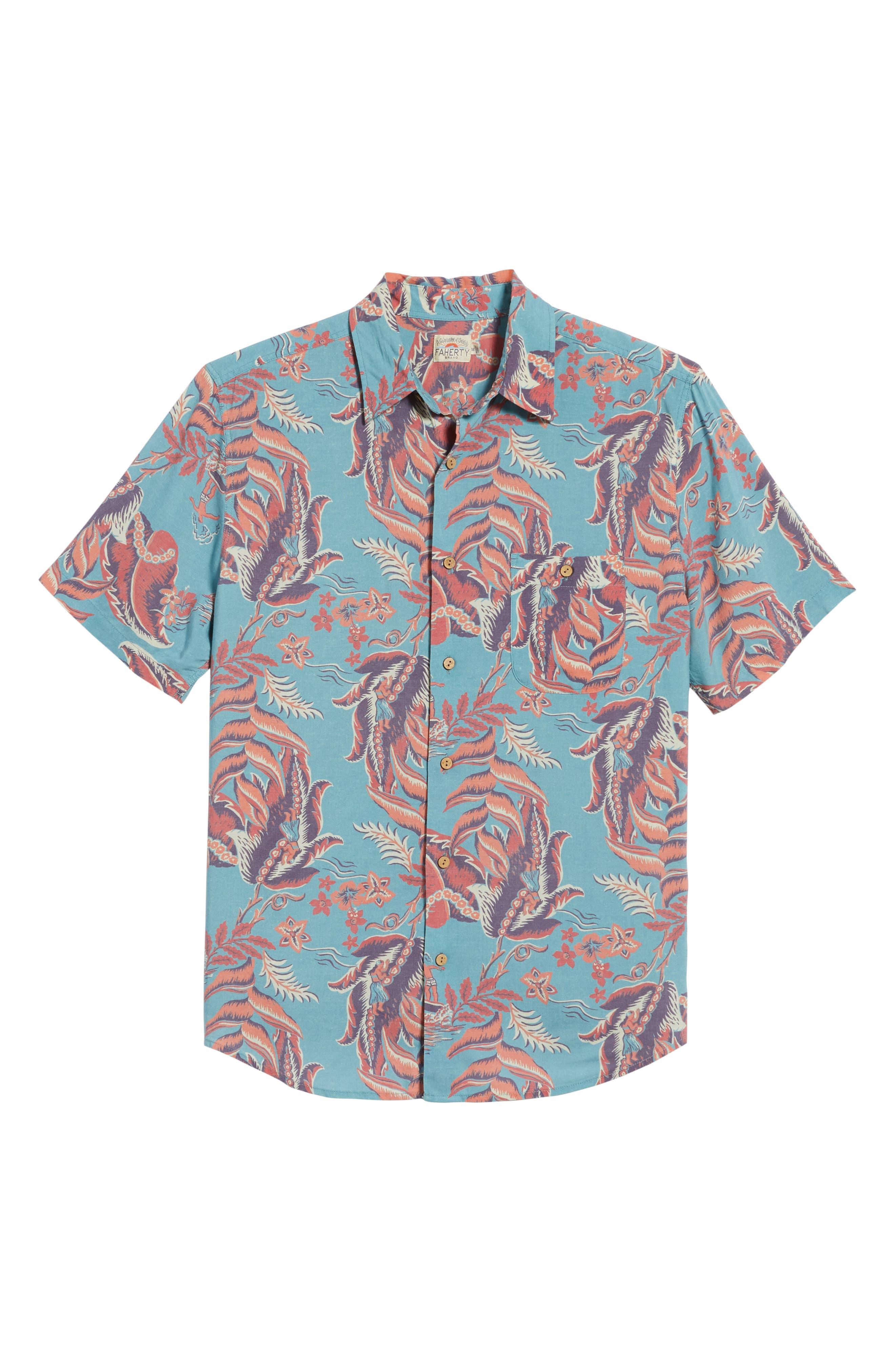 Hawaiian Print Sport Shirt,                             Alternate thumbnail 6, color,                             440