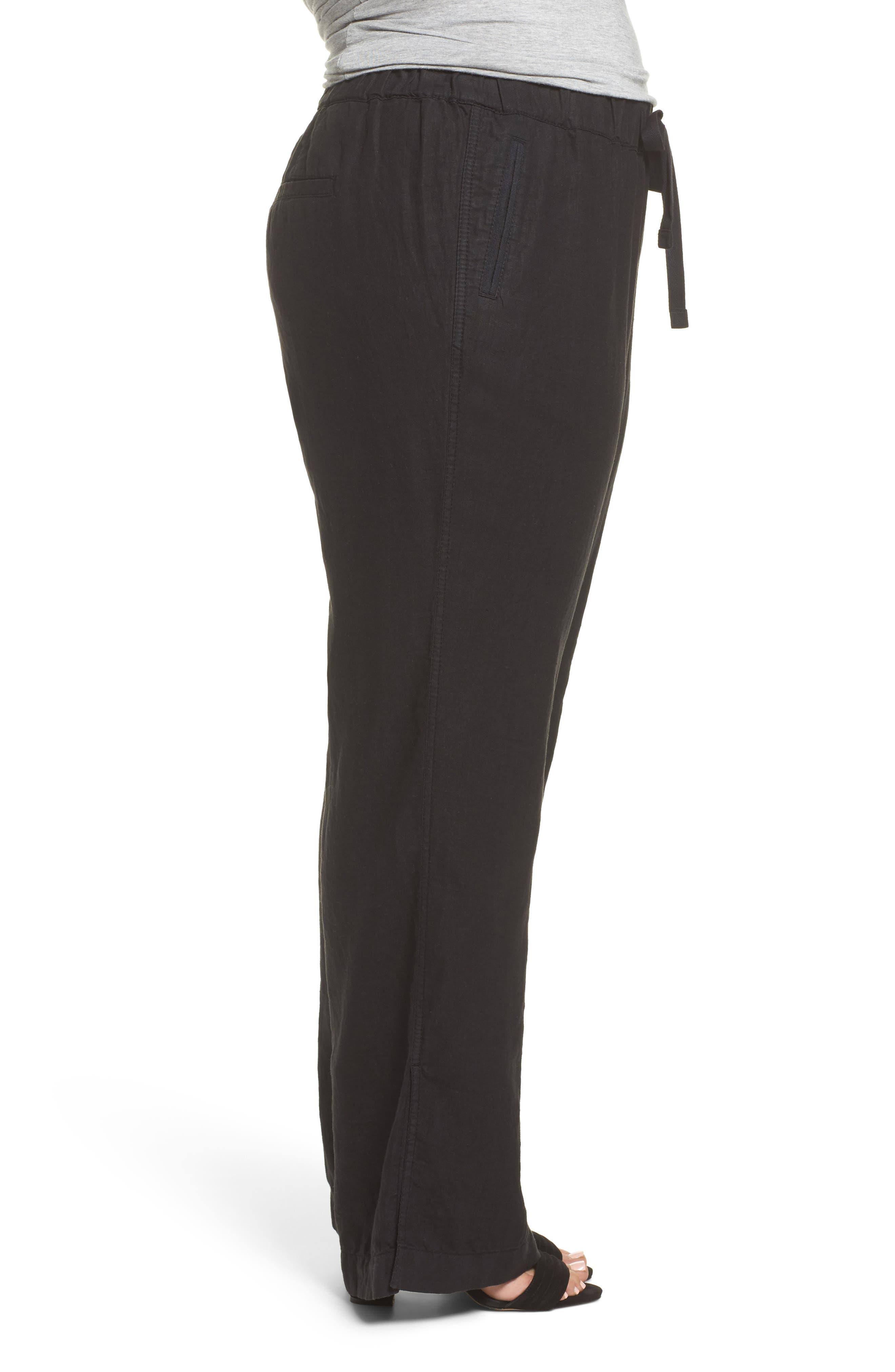 Linen Track Pants,                             Alternate thumbnail 3, color,                             001