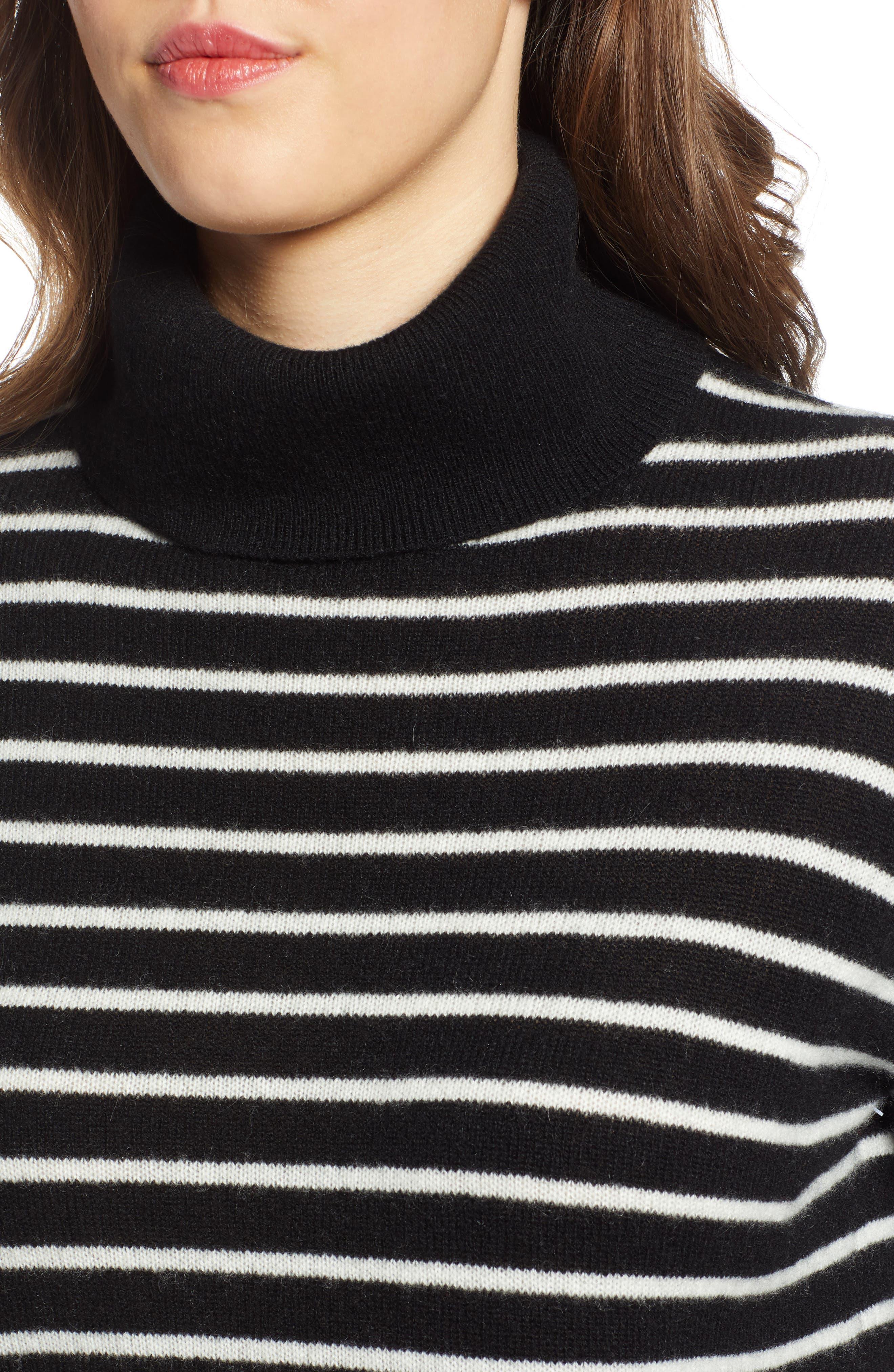 Cashmere Turtleneck Sweater,                             Alternate thumbnail 4, color,                             BLACK- IVORY STRIPE