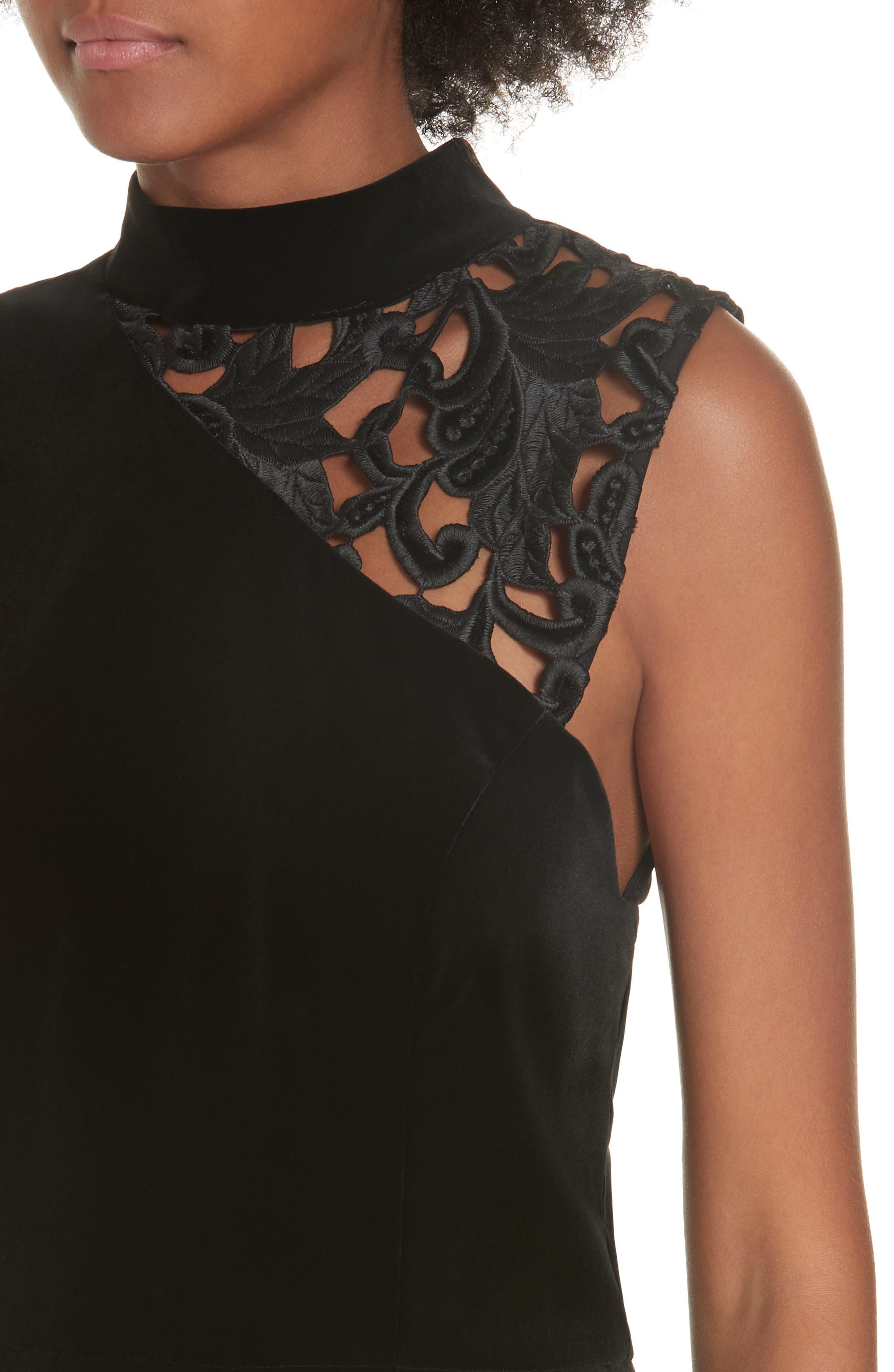 Kiana Velvet & Lace Midi Dress,                             Alternate thumbnail 4, color,                             001