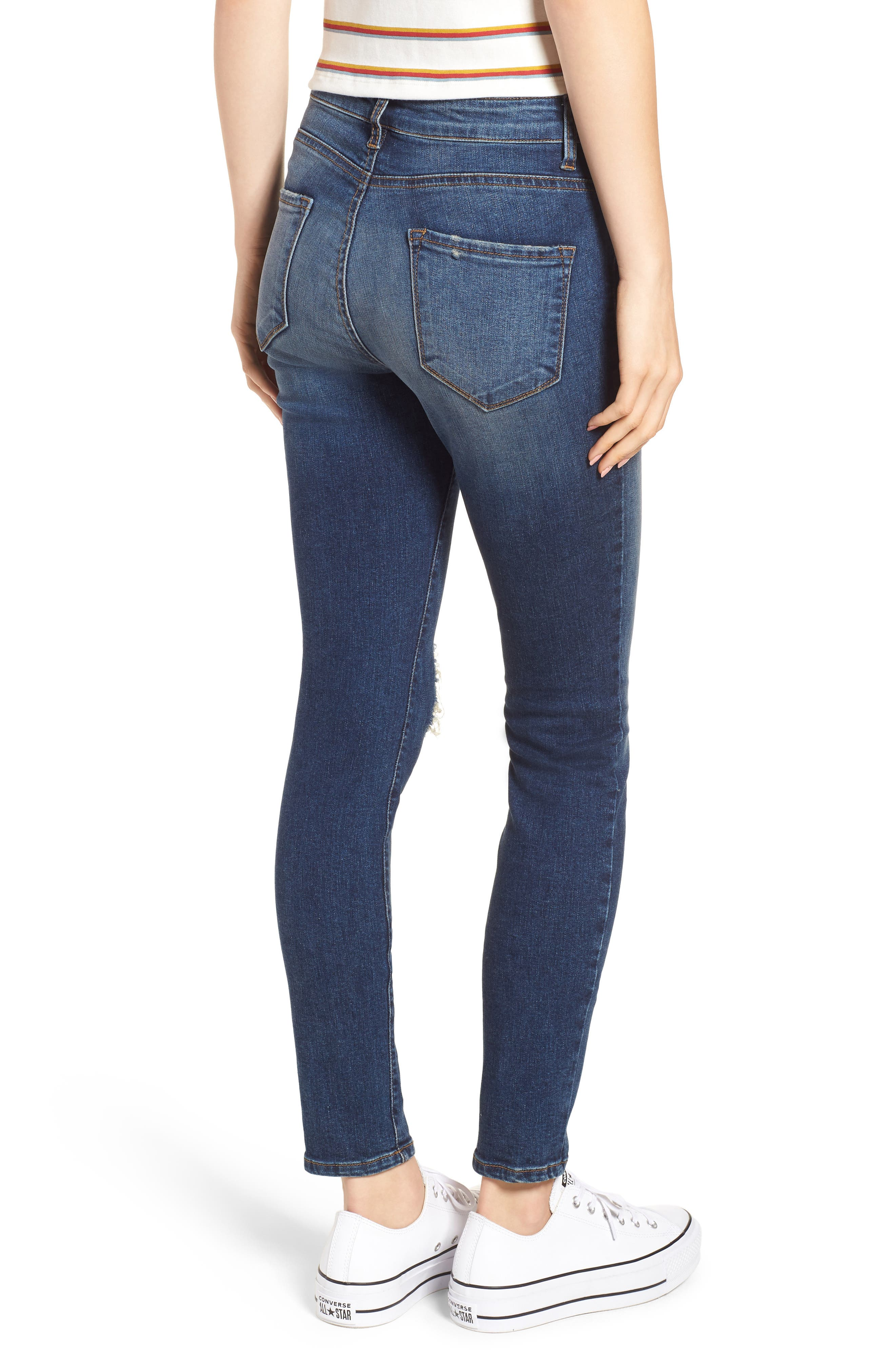 Ripped High Waist Skinny Jeans,                             Alternate thumbnail 2, color,                             000