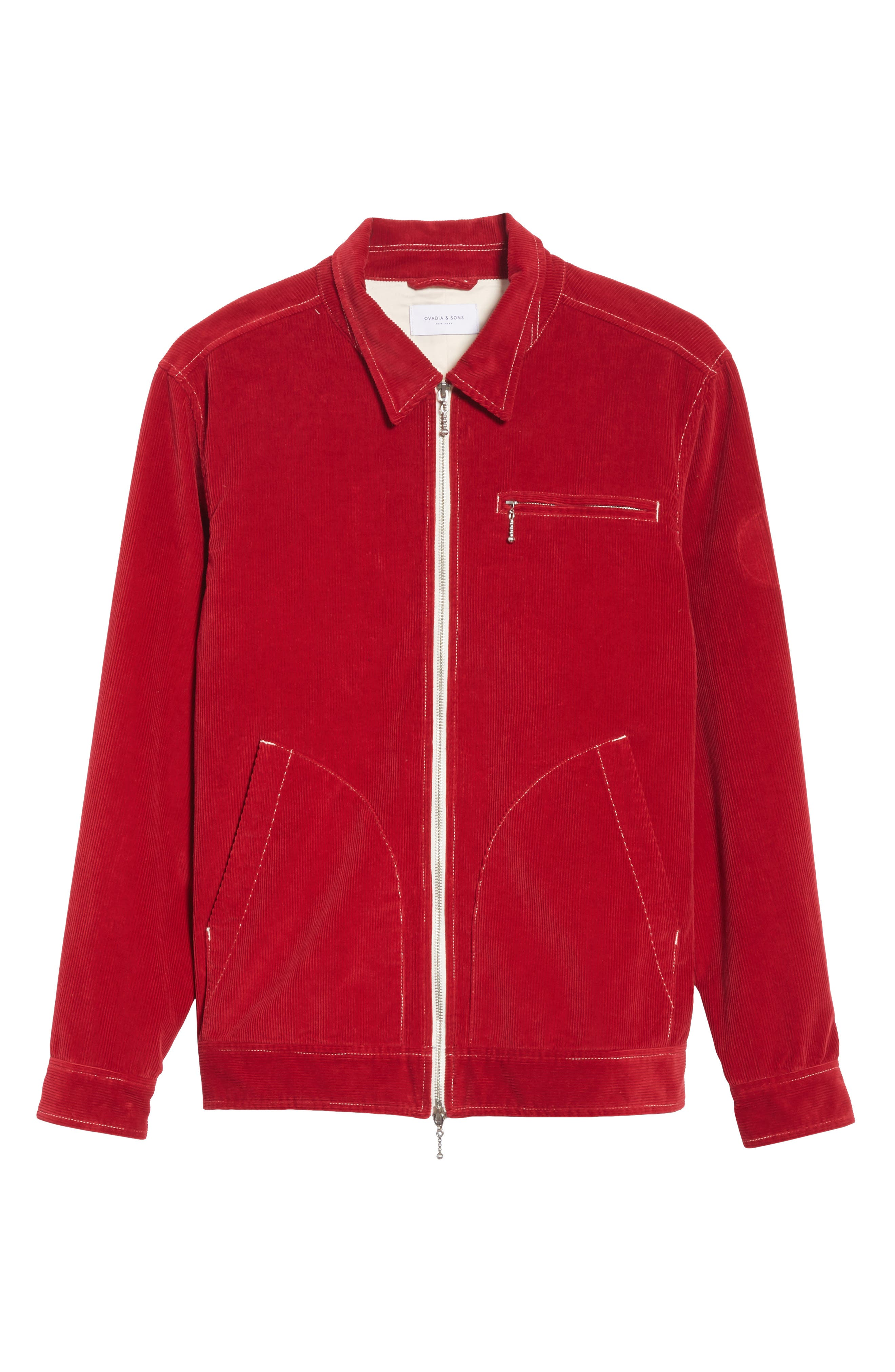 Shedding Light Embroidered Corduroy Jacket,                             Alternate thumbnail 5, color,                             RED