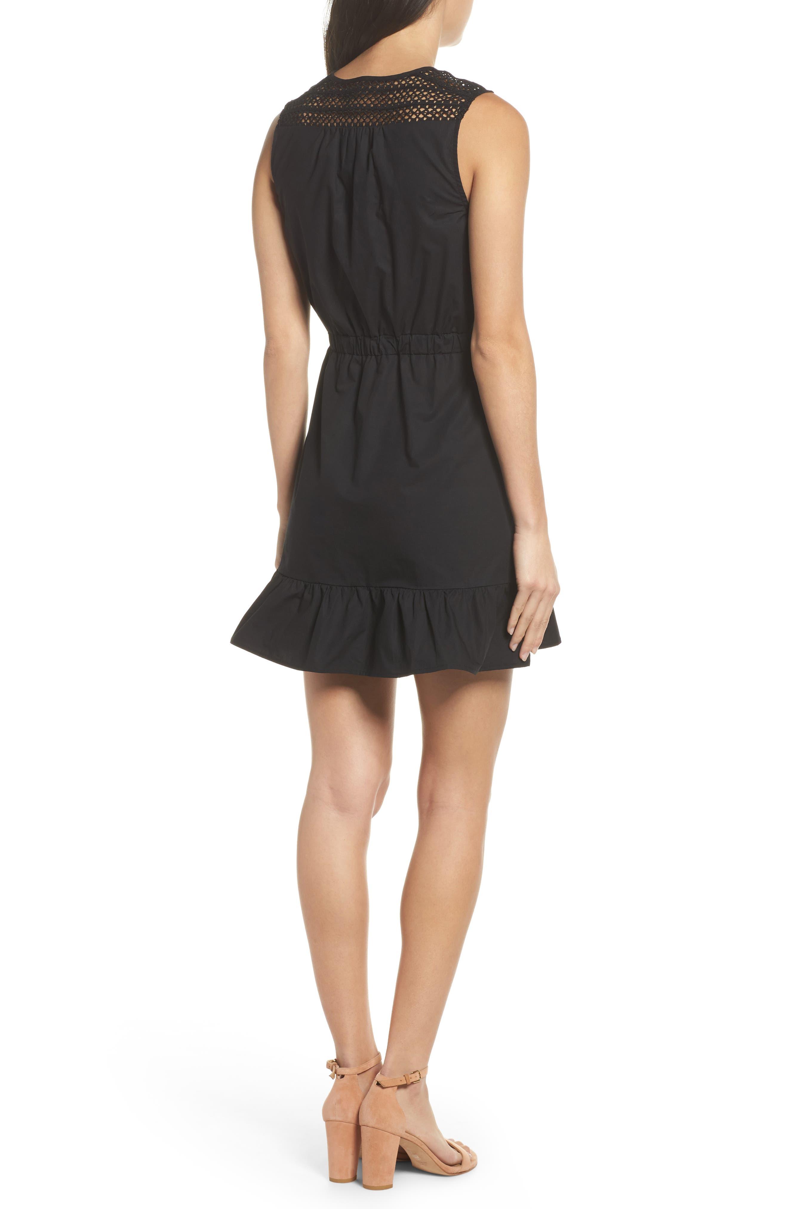 Leah Lace Trim A-Line Dress,                             Alternate thumbnail 2, color,                             001