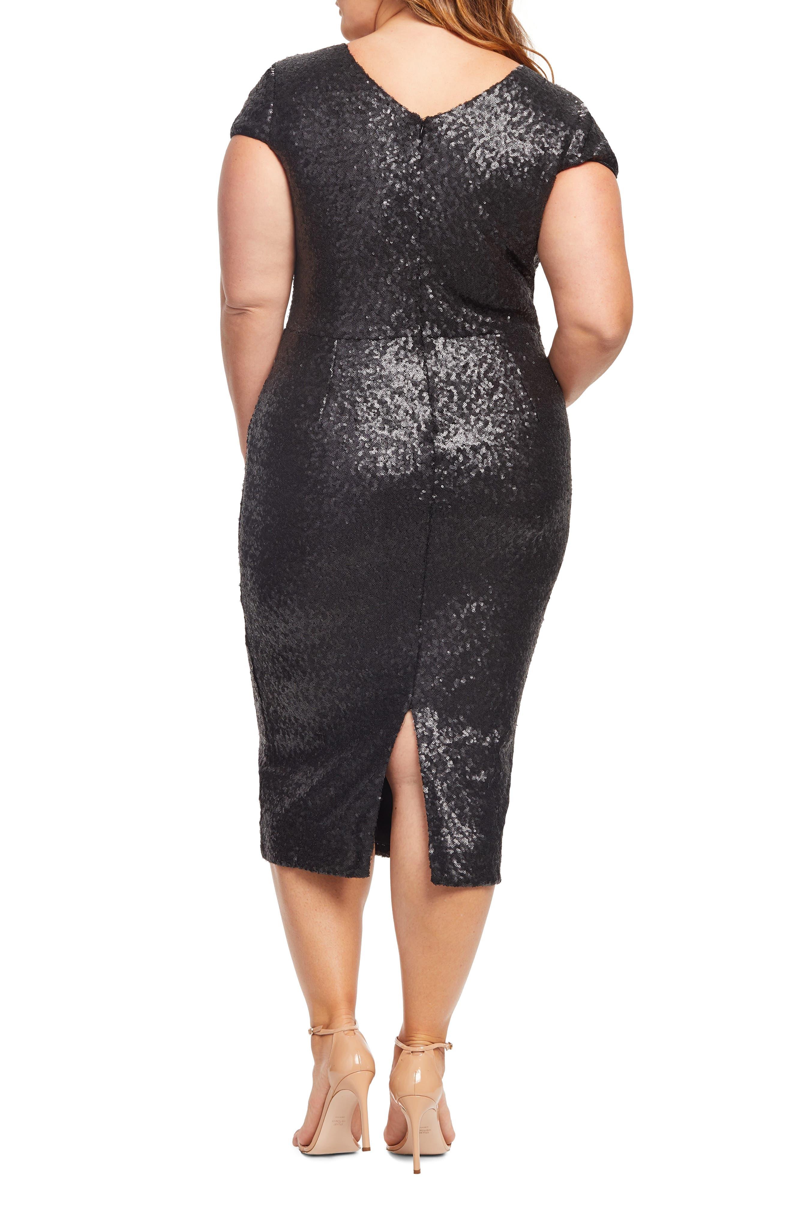 Allison Sequin Sheath Dress,                             Alternate thumbnail 2, color,                             MATTE BLACK