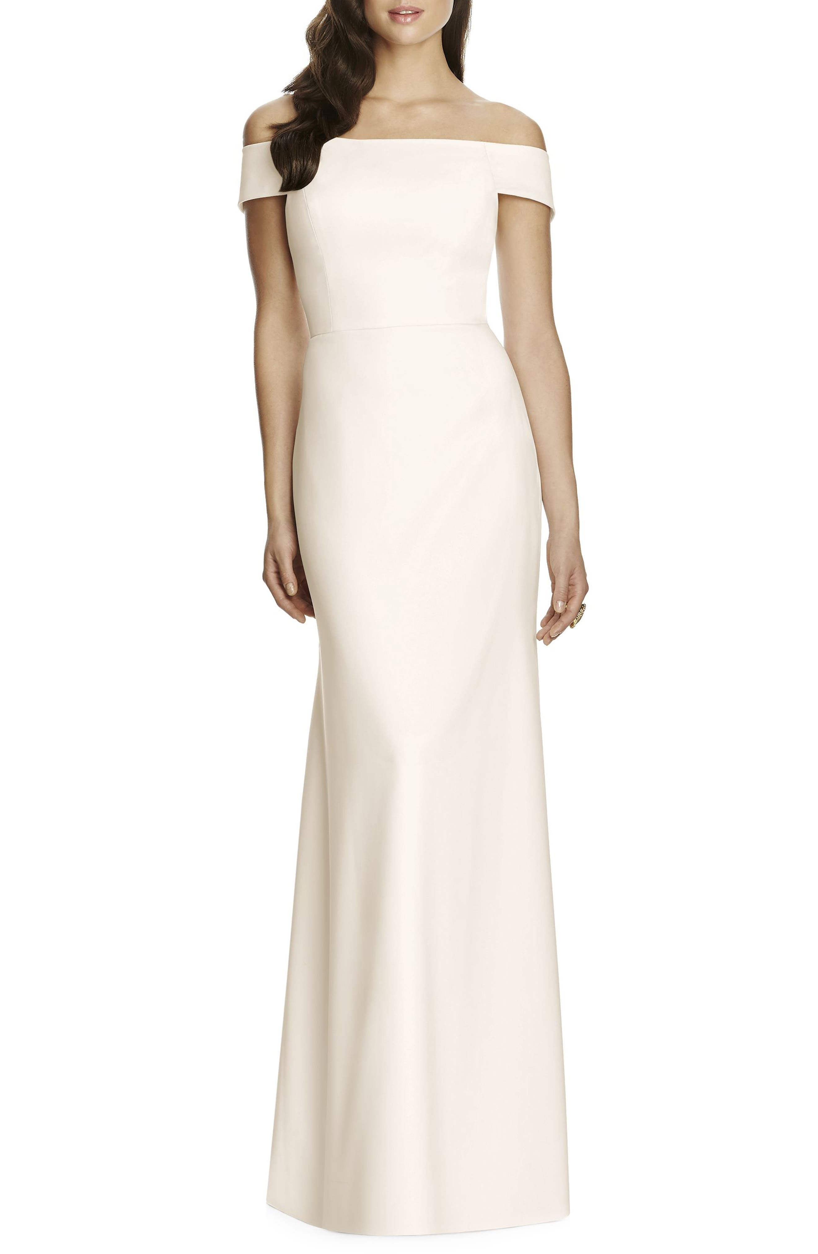 Dessy Collection Off The Shoulder Crepe Gown, Ivory