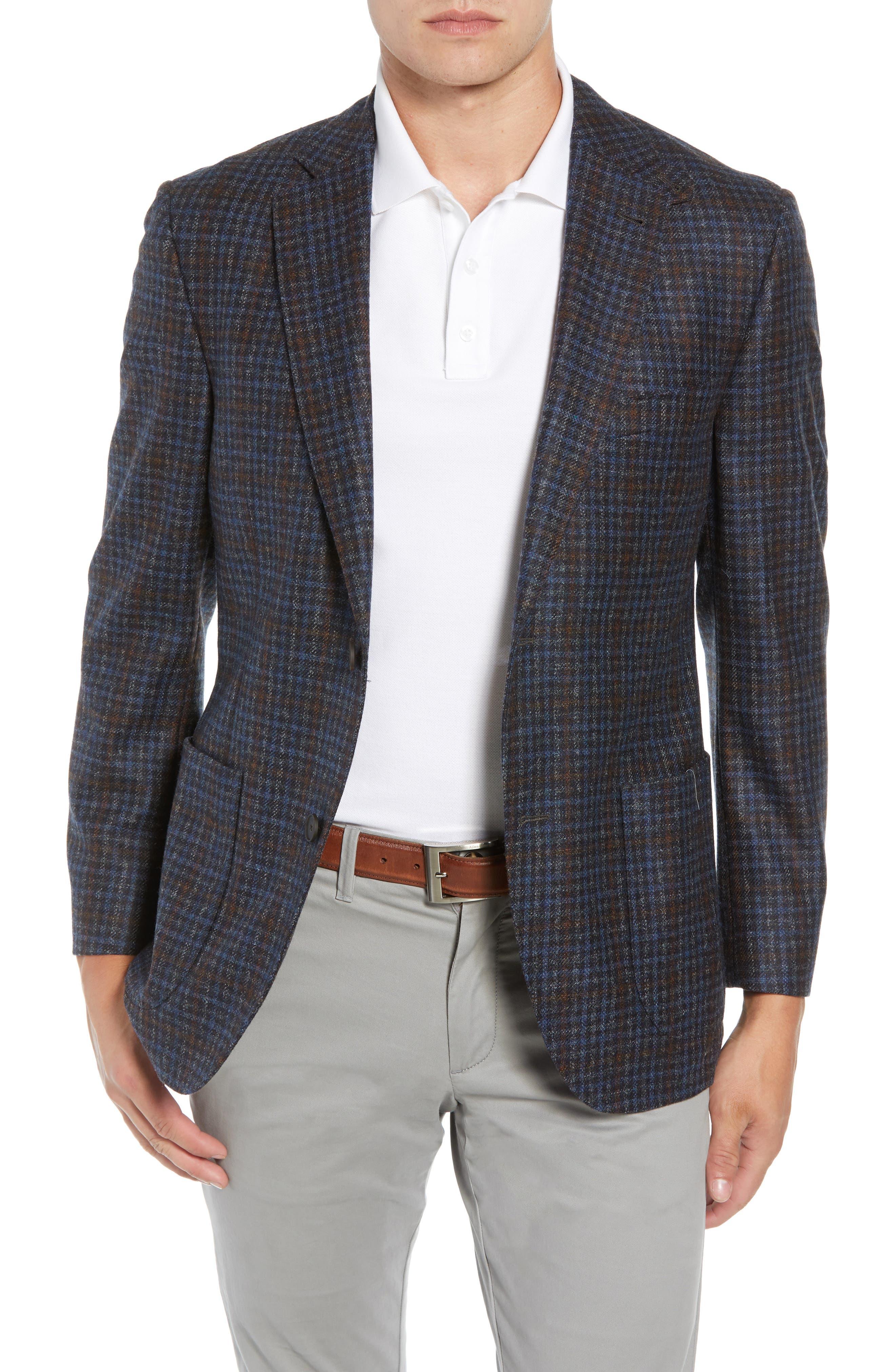 Bono 2 Classic Fit Check Wool & Cashmere Sport Coat,                         Main,                         color, BURGUNDY