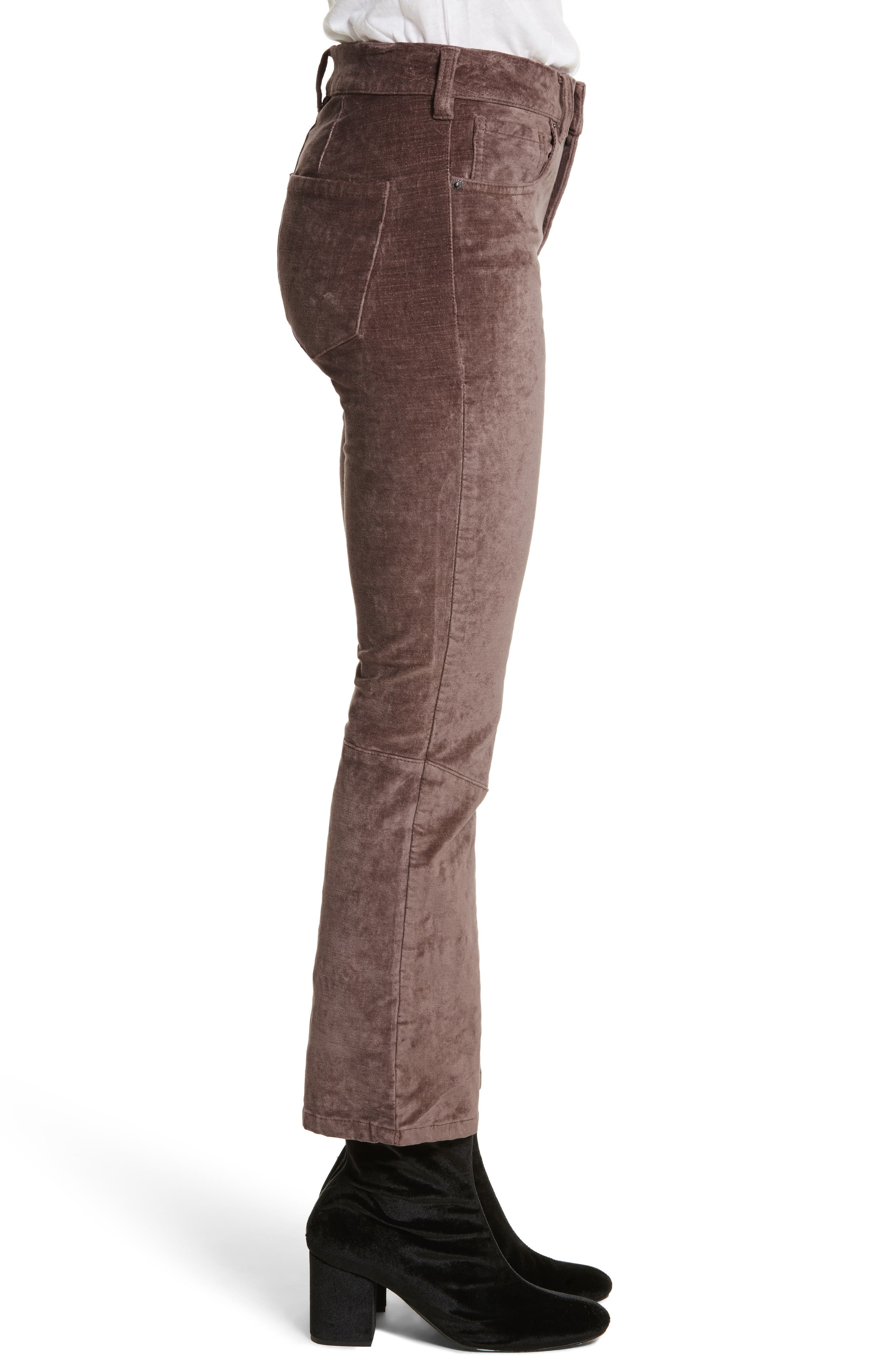 Velvet Crop Bootcut Pants,                             Alternate thumbnail 3, color,                             230