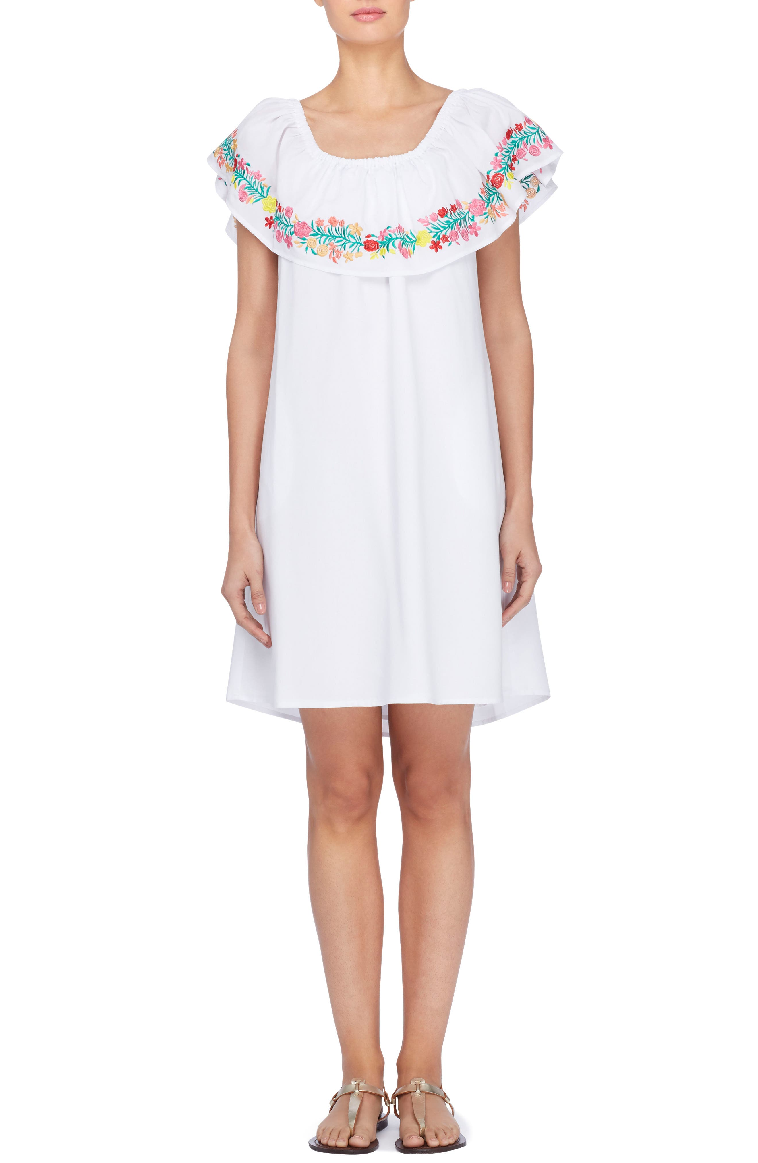 Leonie Embroidered Ruffle Shift Dress,                             Main thumbnail 1, color,                             165
