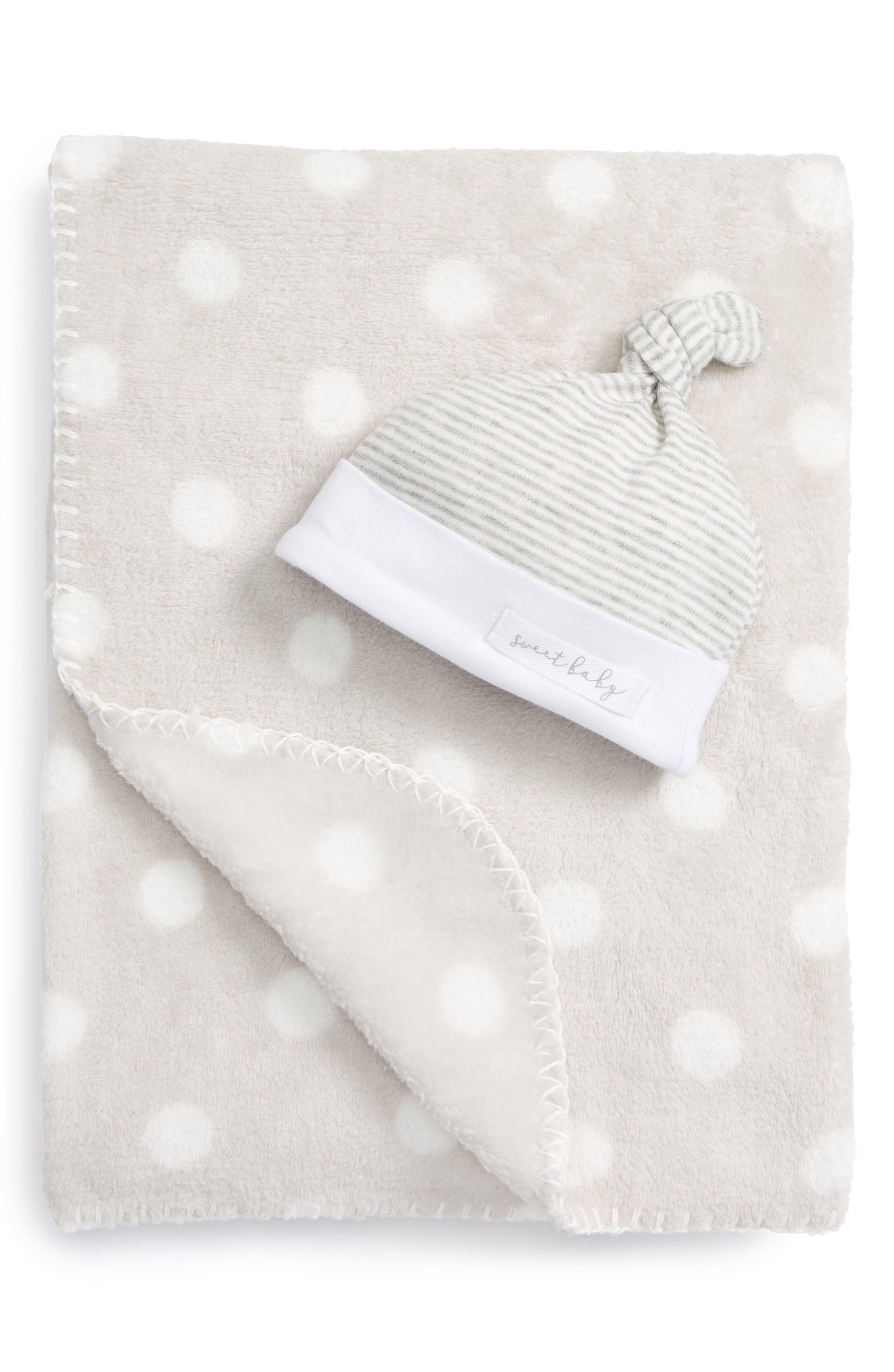 MUD PIE Sweet Baby Receiving Blanket & Hat Set, Main, color, 020