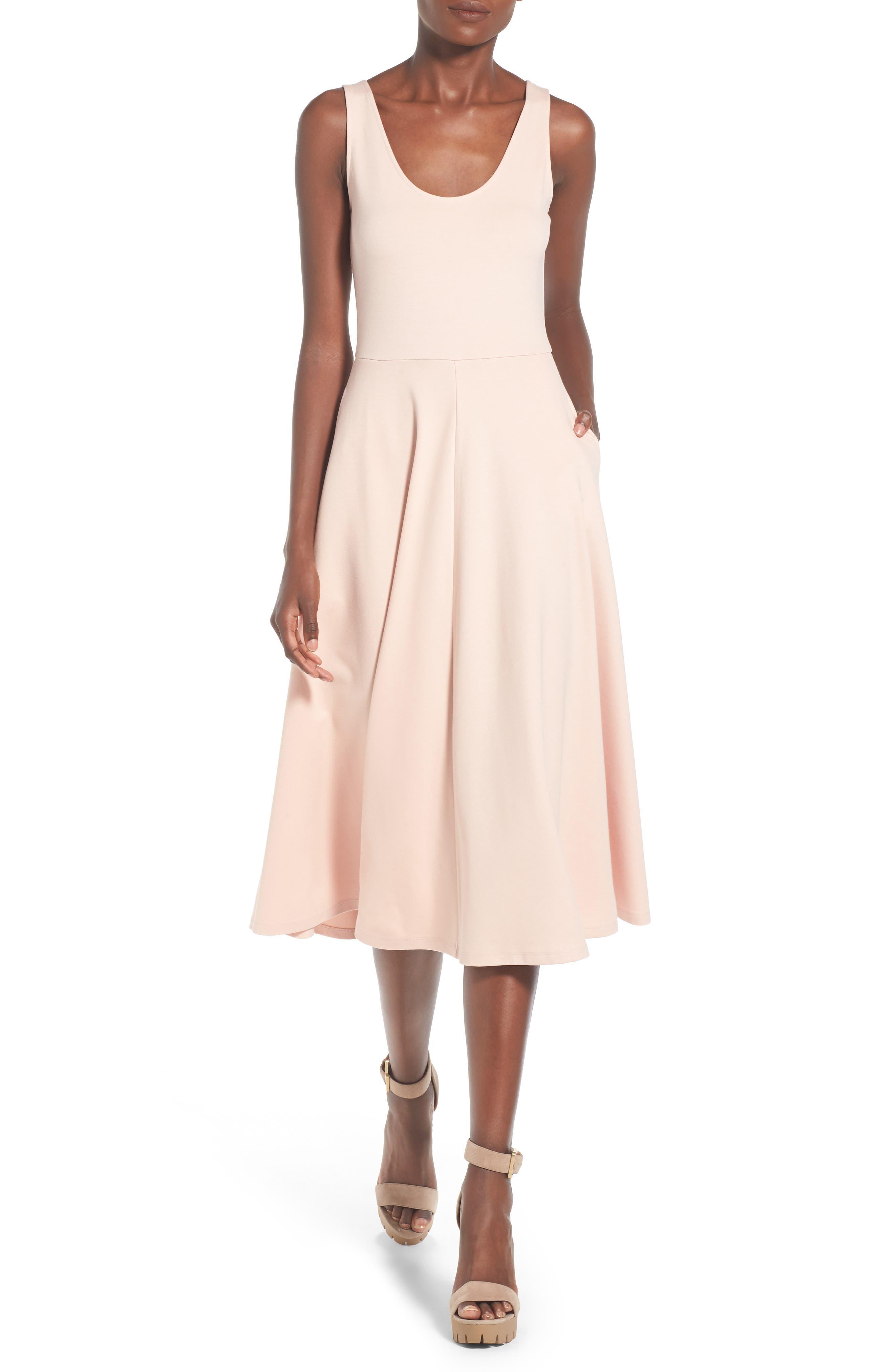 Stretch Knit Midi Dress,                             Alternate thumbnail 21, color,