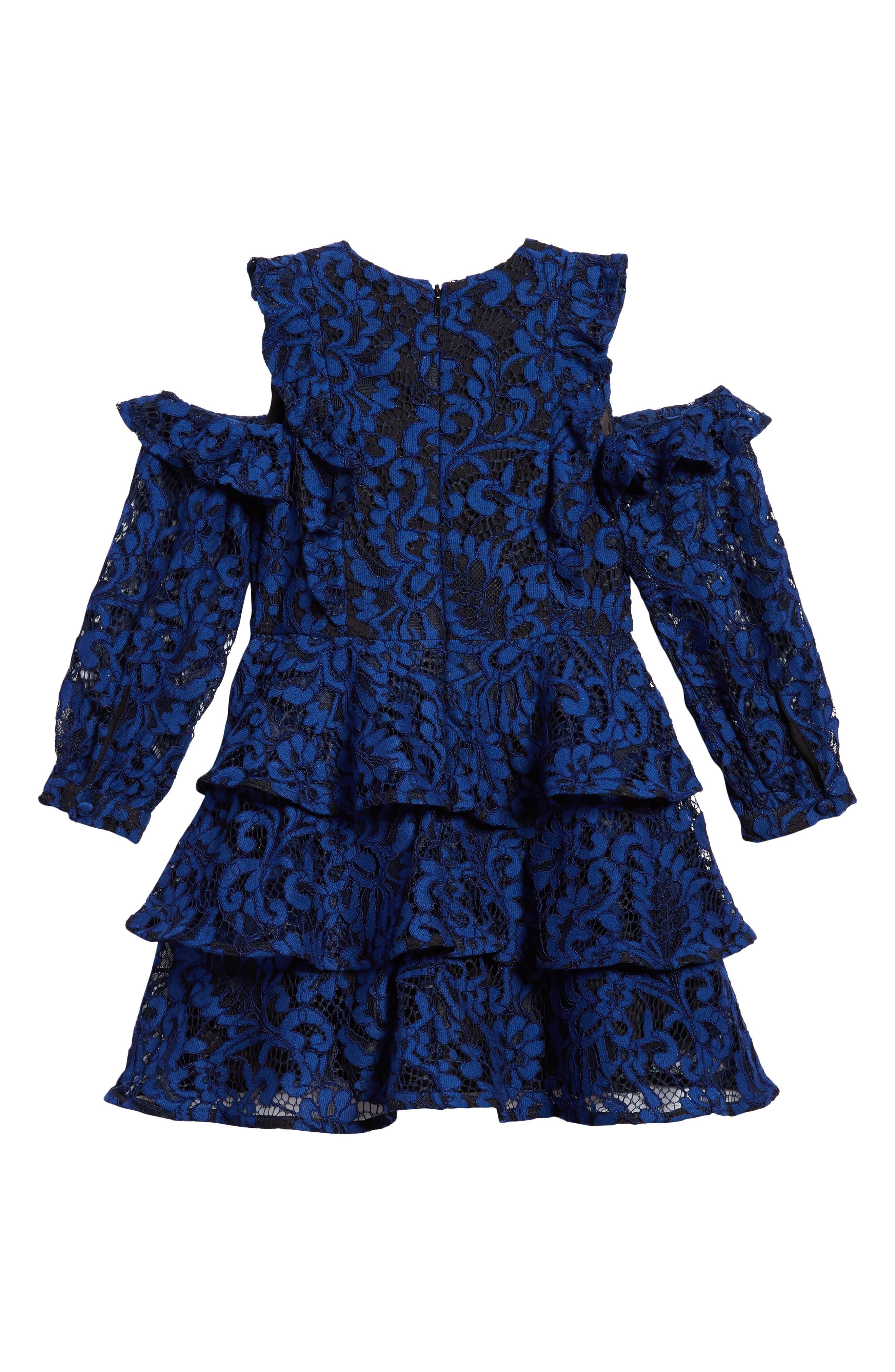 Ruffle Lace Cold Shoulder Dress,                             Alternate thumbnail 2, color,                             412