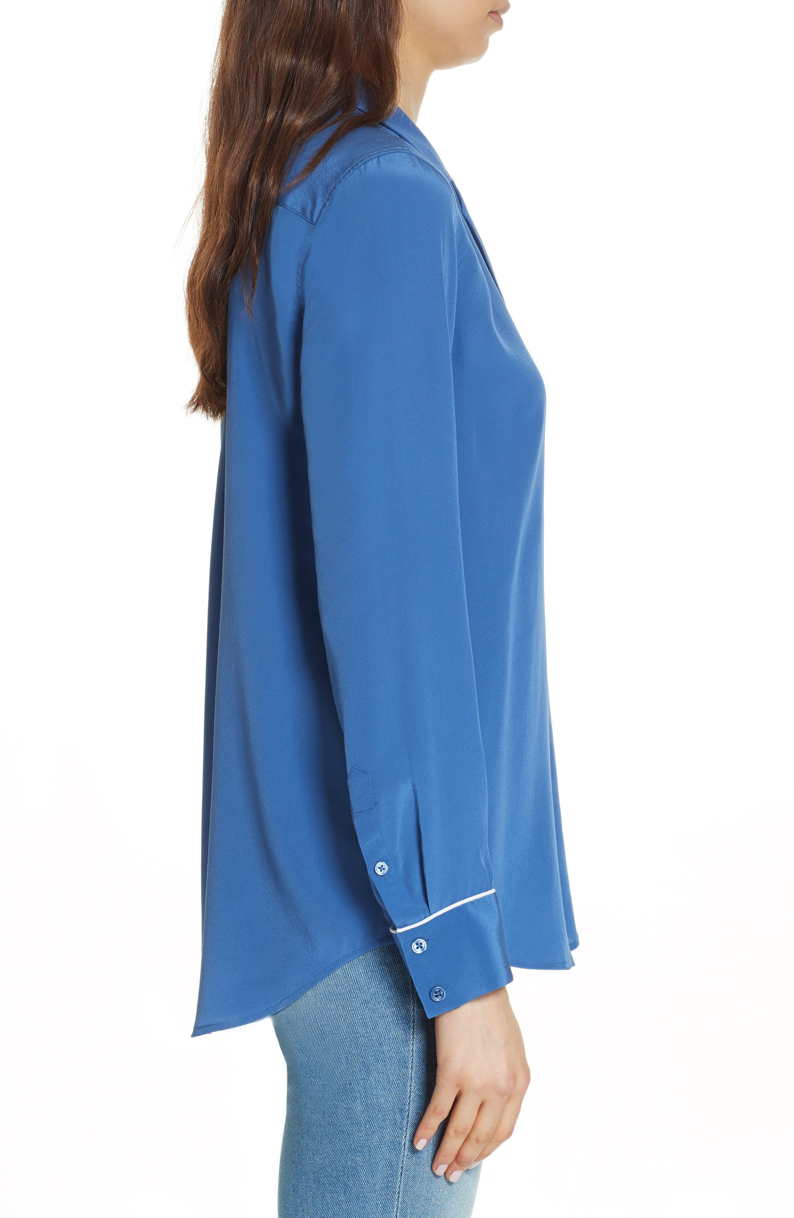 Keira Piped Silk Shirt,                             Alternate thumbnail 3, color,                             LETTERMAN BLUE