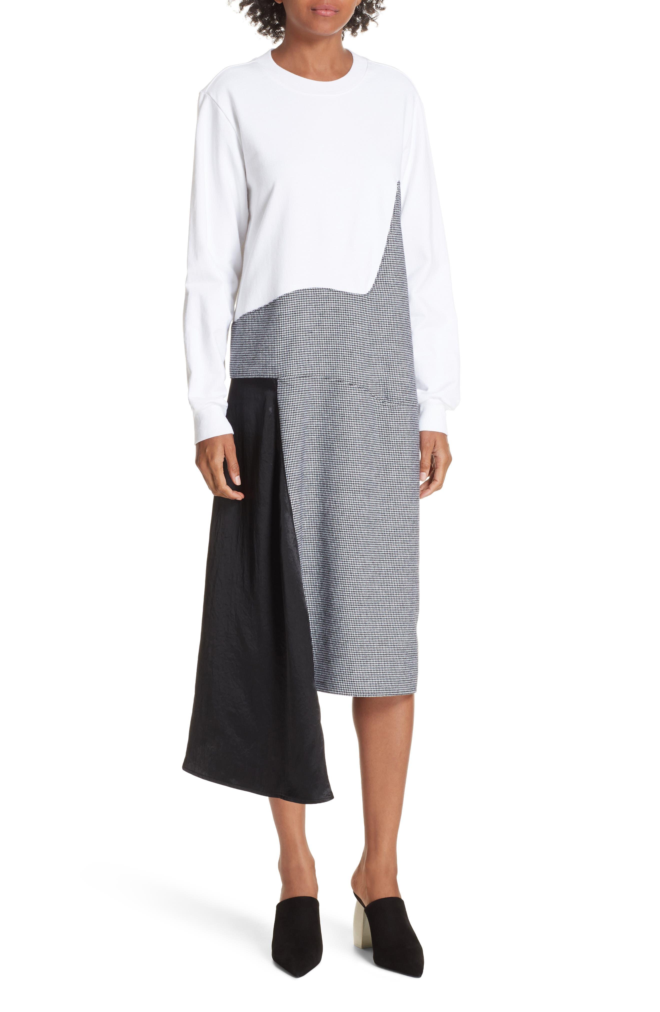 Colorblock Asymmetric Dress,                         Main,                         color, WHITE/ BLACK
