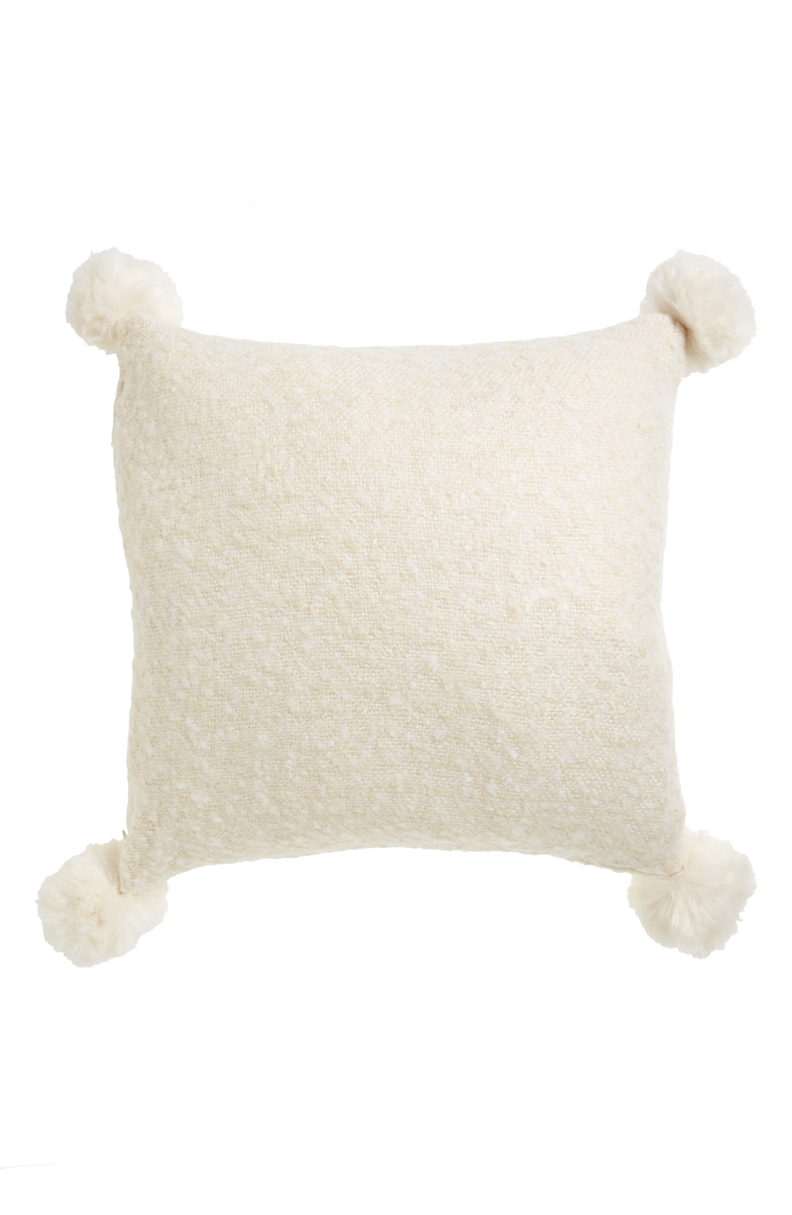 Brushed Accent Pillow with Pompoms,                             Main thumbnail 1, color,                             900