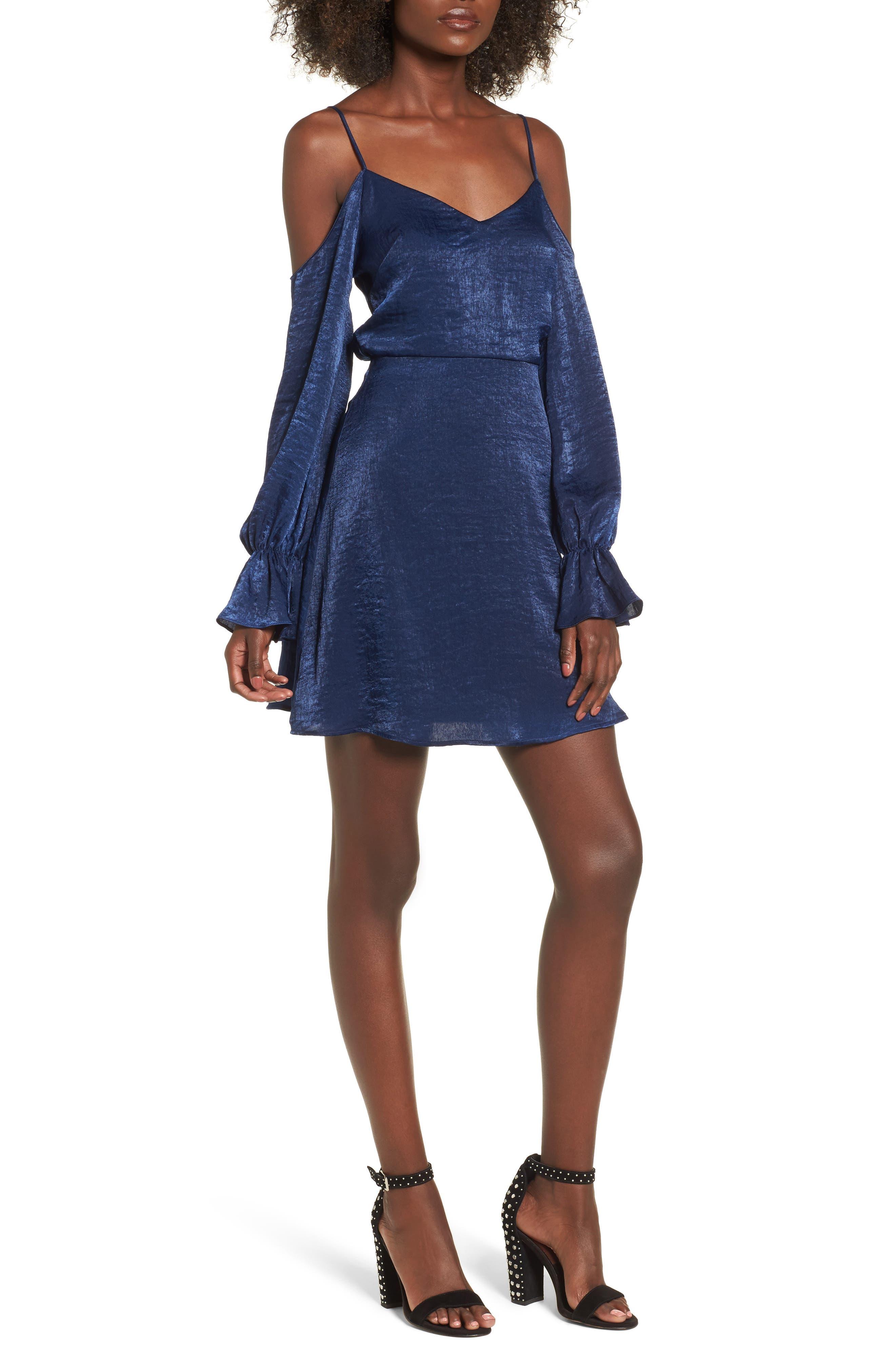 Satin Cold Shoulder Dress,                             Main thumbnail 1, color,                             400