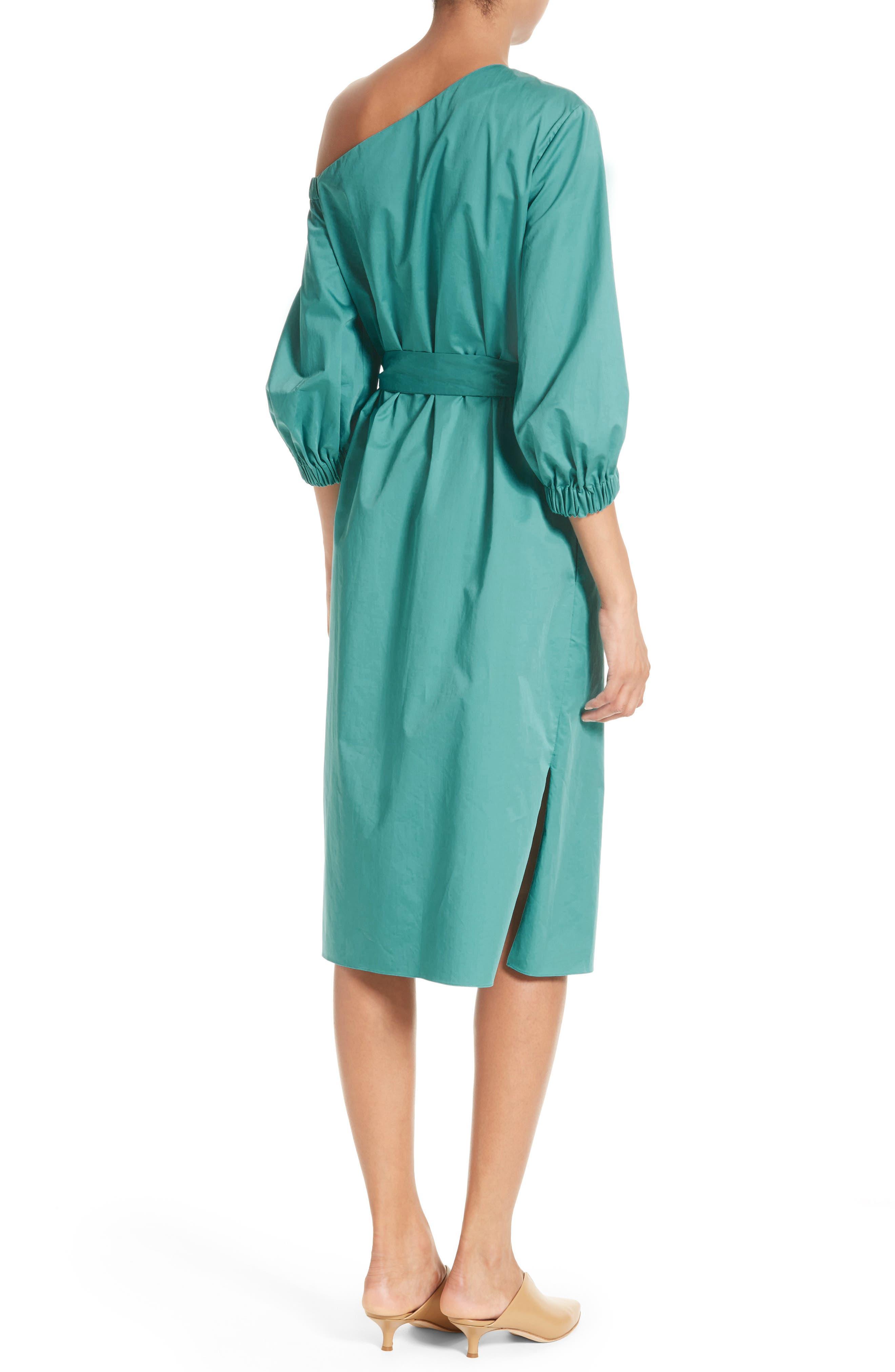 Cotton One-Shoulder Dress,                             Alternate thumbnail 2, color,                             442
