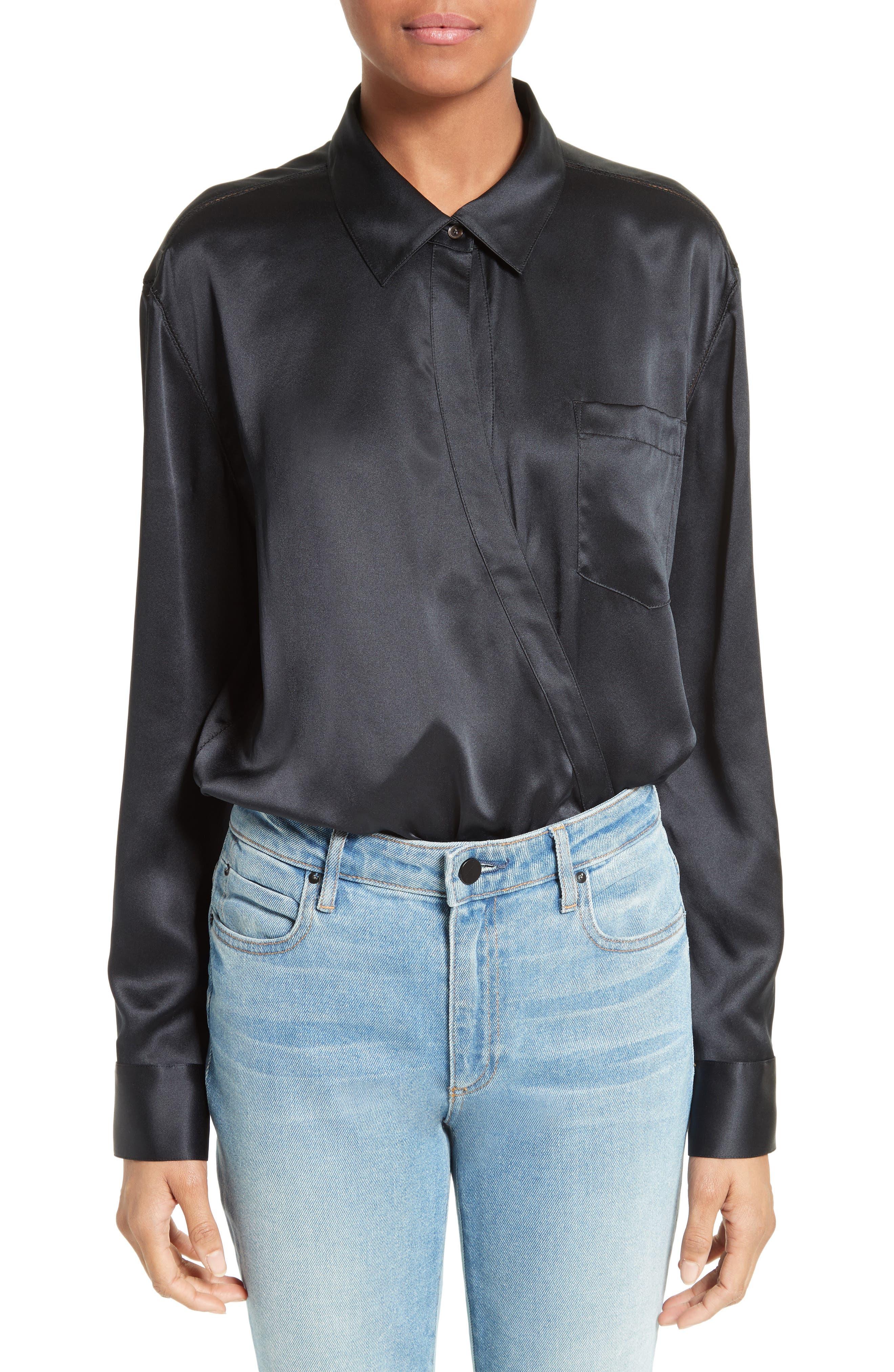 Silk Wrap Shirt Bodysuit,                             Main thumbnail 1, color,                             001