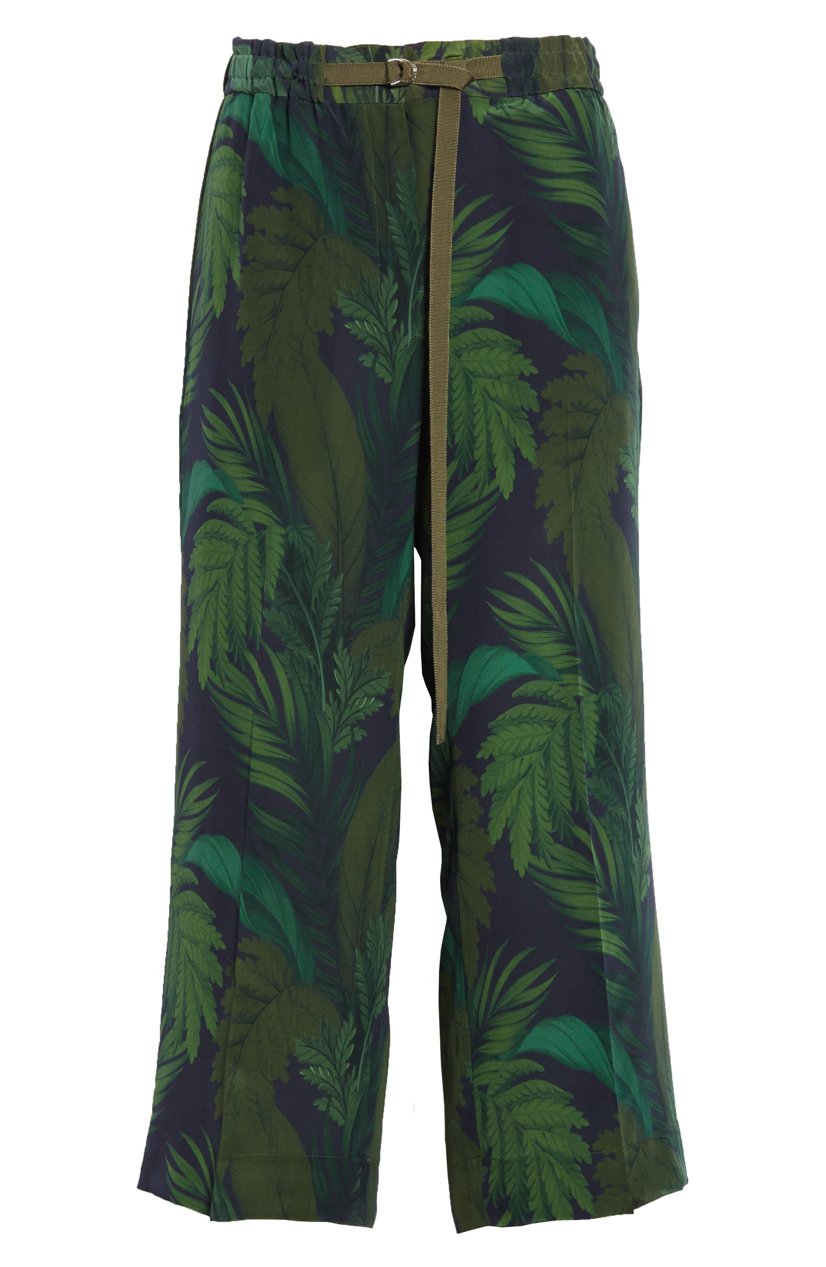 Palm Print Crop Silk Pants,                             Alternate thumbnail 6, color,                             300
