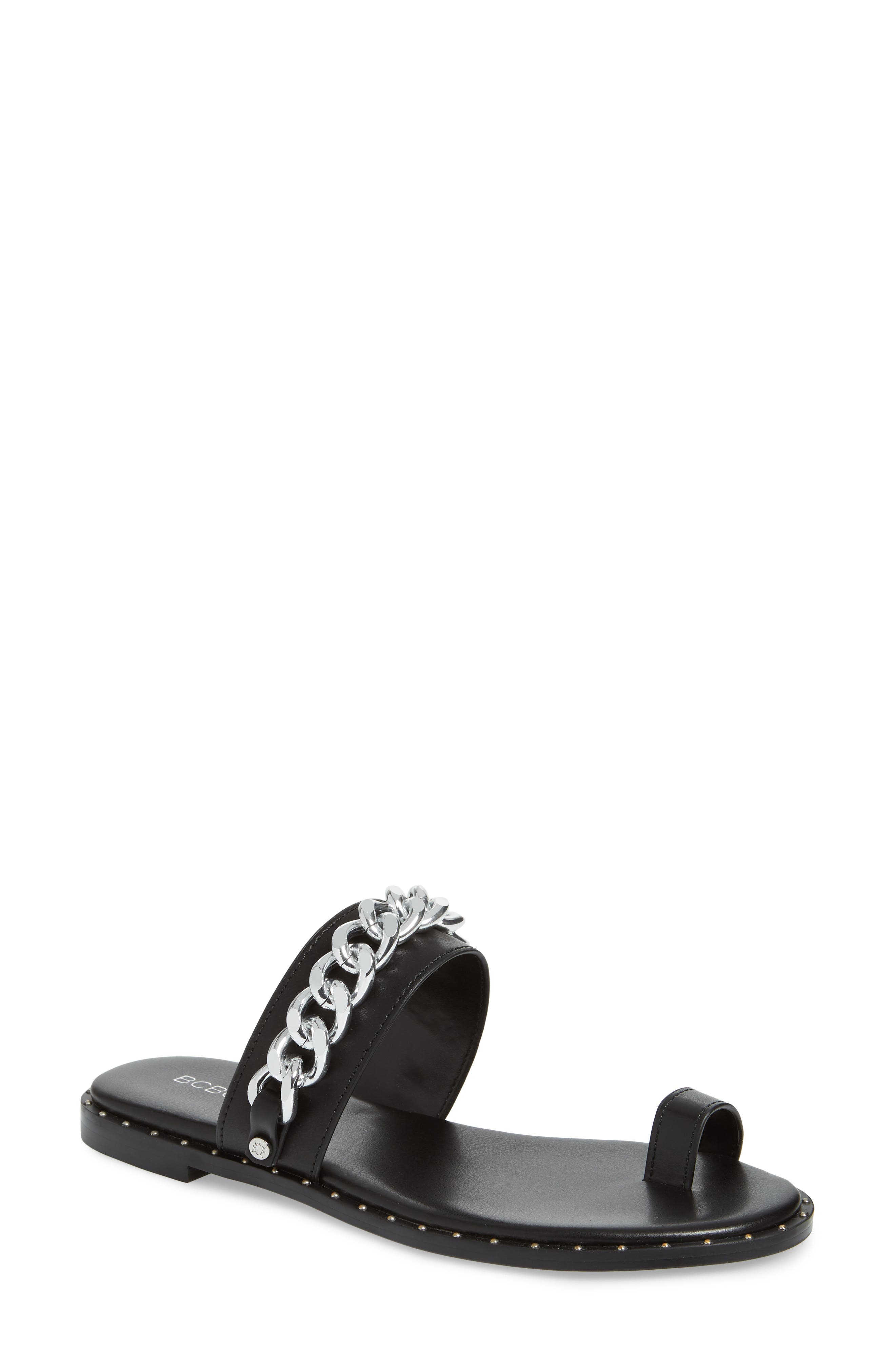 Zola Chain Slide Sandal,                             Main thumbnail 1, color,                             BLACK