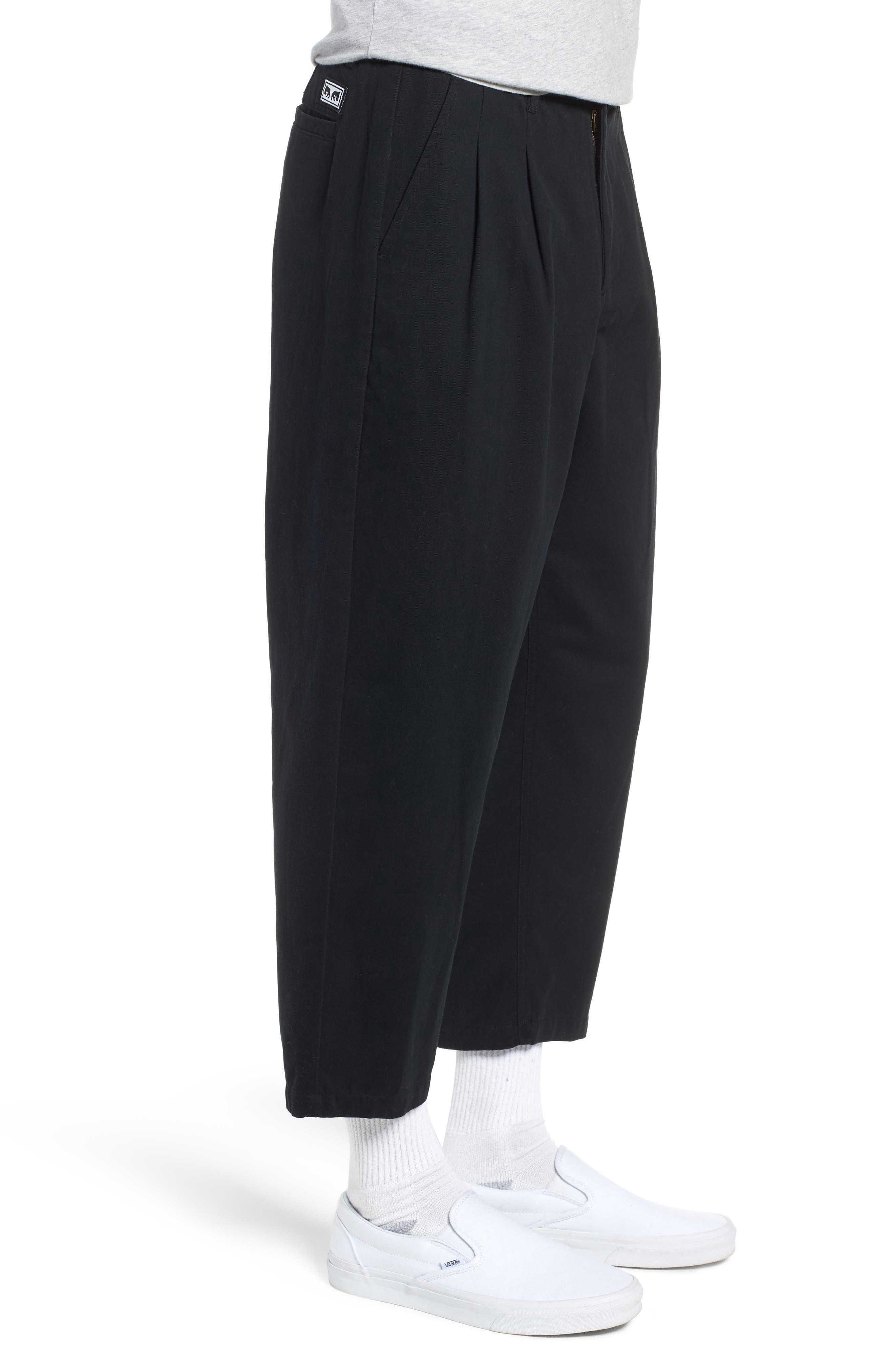 Fubar Pleated Relaxed Fit Pants,                             Alternate thumbnail 3, color,                             BLACK