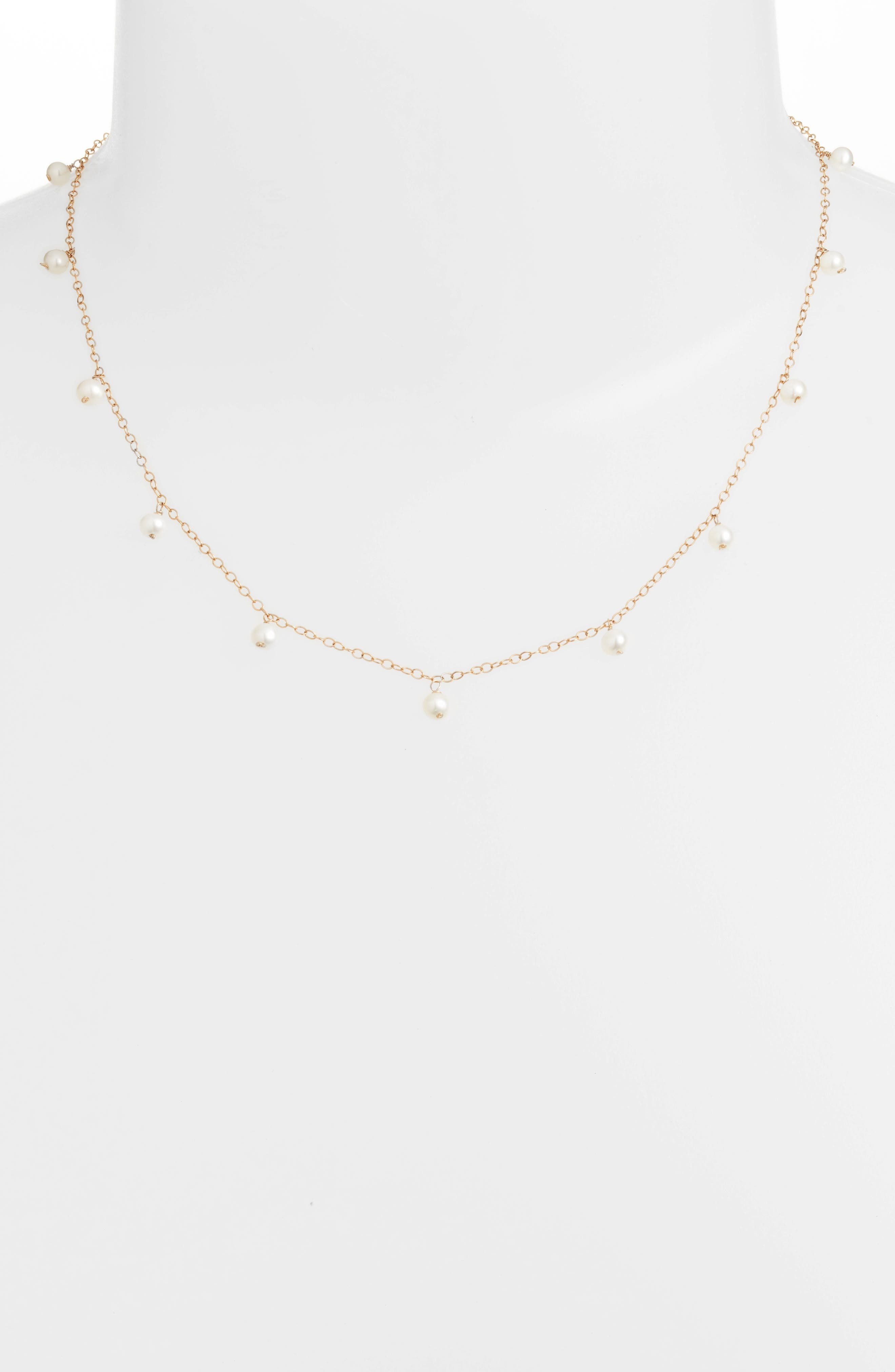 Baby Pearl Station Short Necklace,                             Alternate thumbnail 2, color,                             YELLOW GOLD/ WHITE PEARL