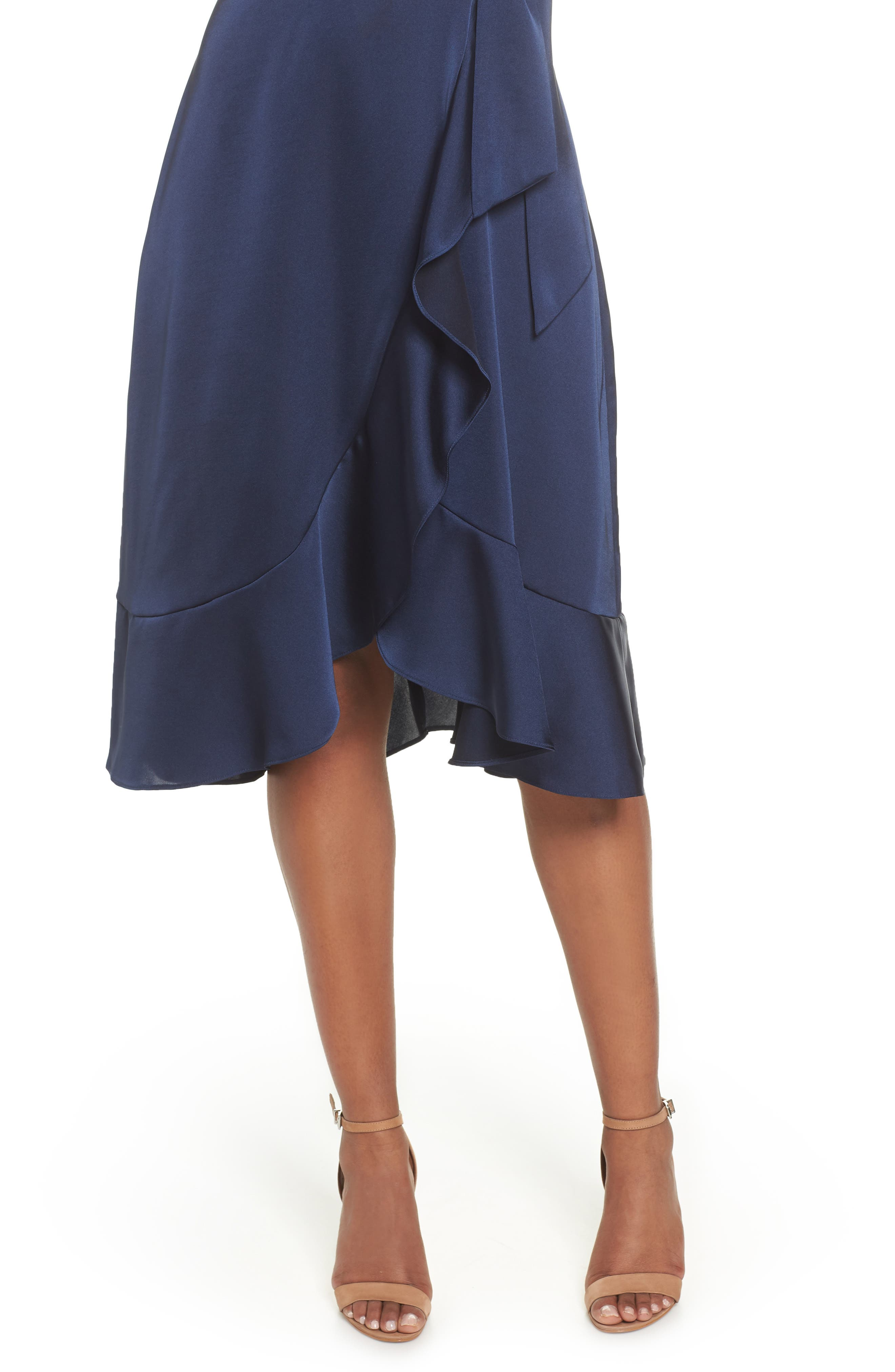 Marilyn Satin Faux Wrap Dress,                             Alternate thumbnail 4, color,                             NAVY