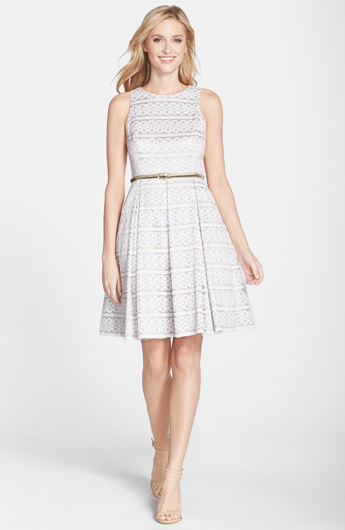 Belted Eyelet Lace Fit & Flare Dress,                             Alternate thumbnail 2, color,                             900