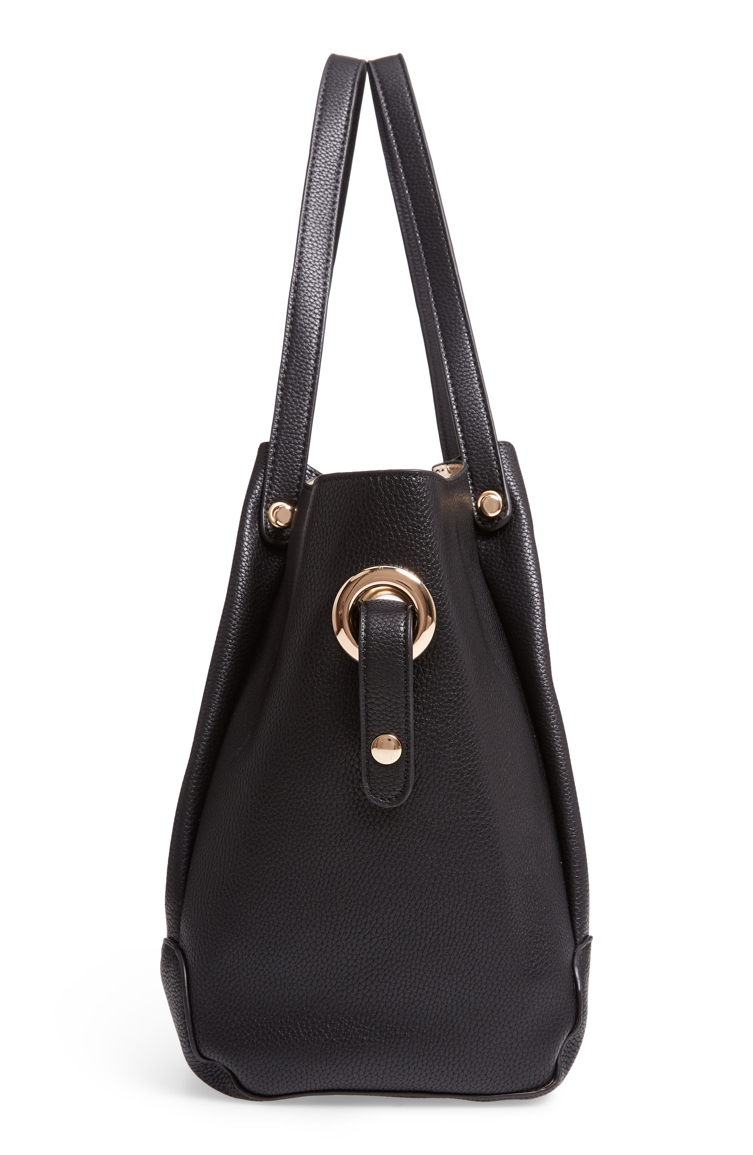 Faux Leather Satchel,                             Alternate thumbnail 5, color,                             BLACK