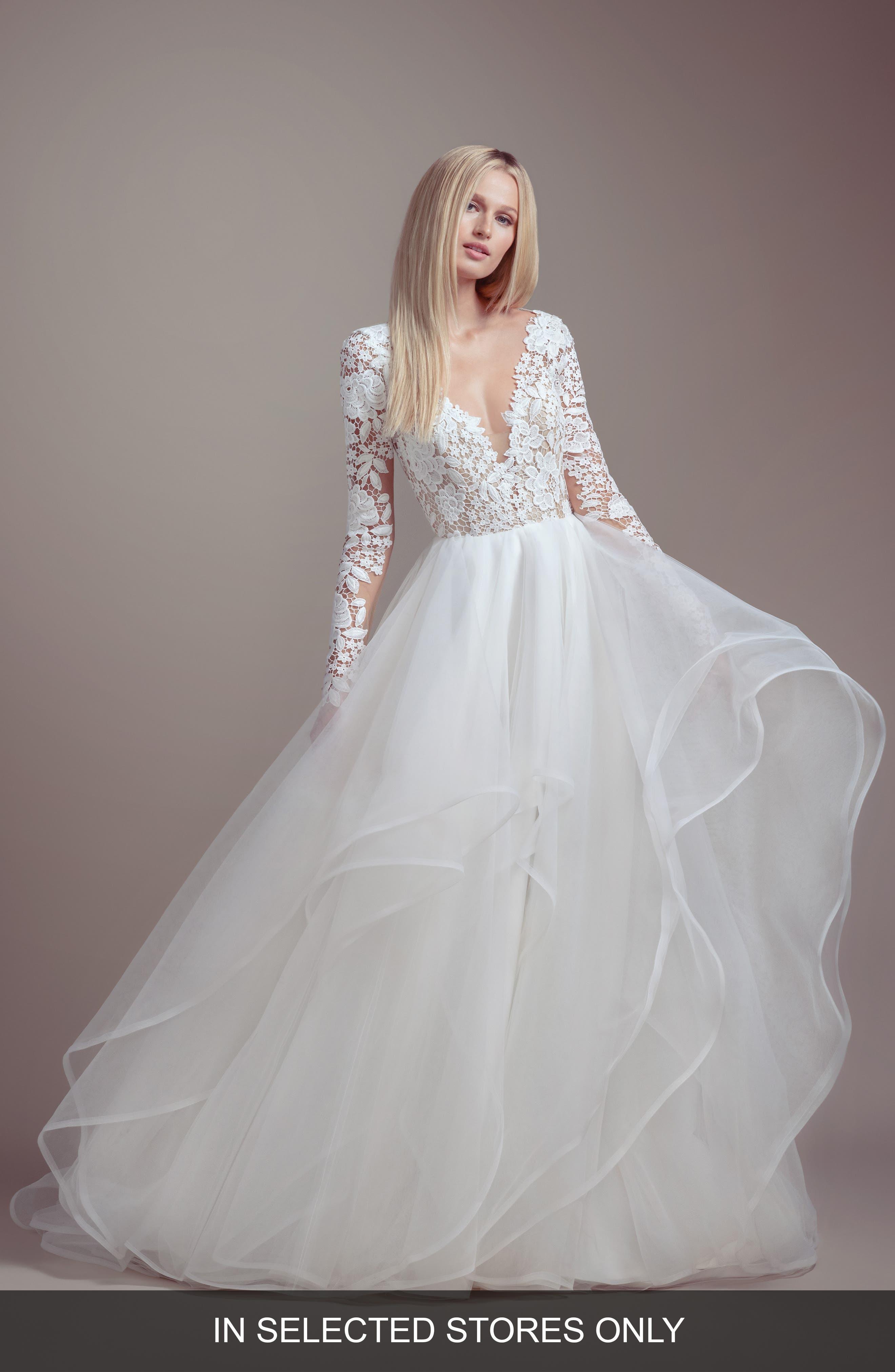 Praise Long Sleeve Lace & Tulle Wedding Dress,                             Main thumbnail 1, color,                             IVORY