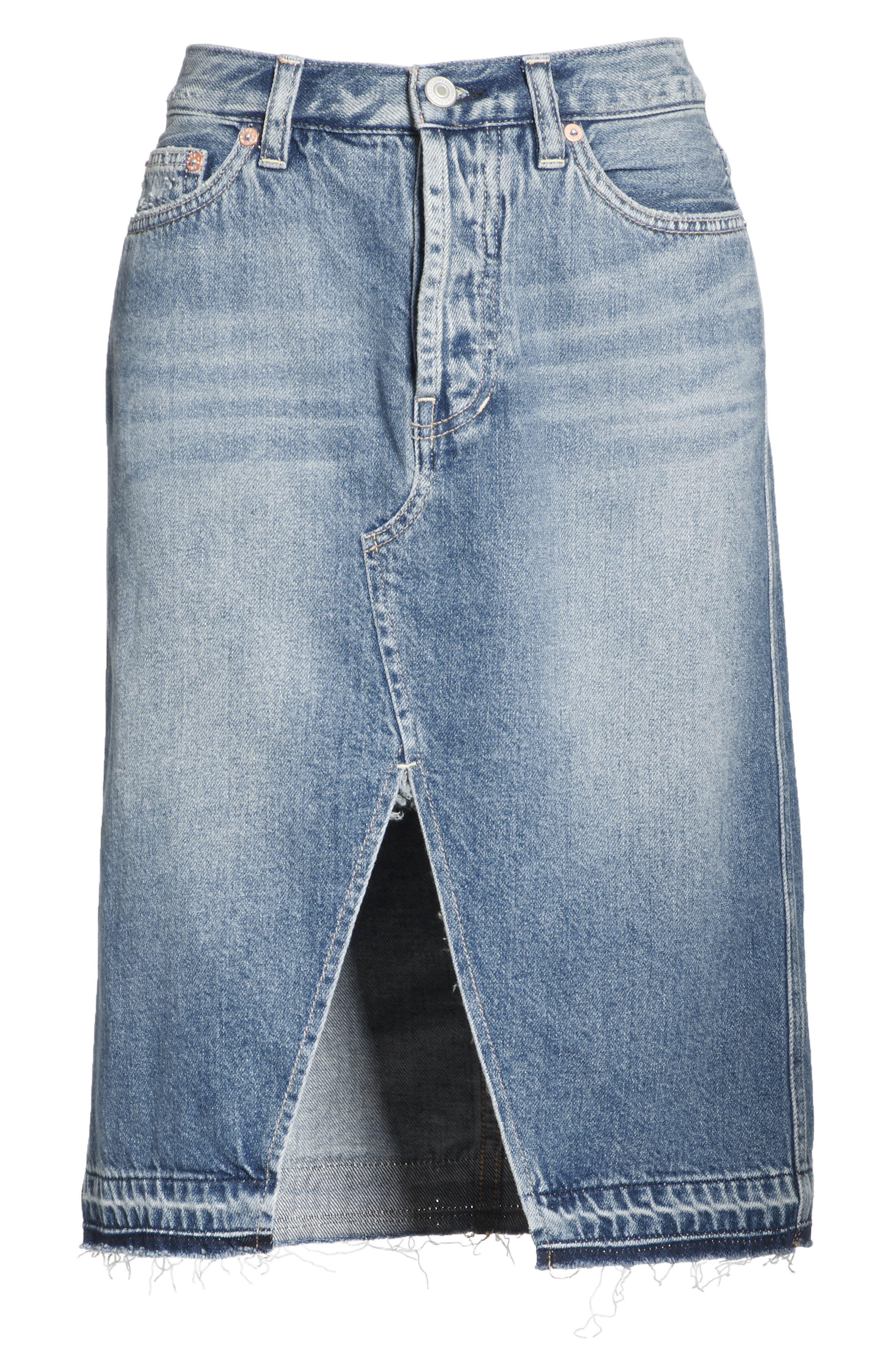 Front Slit Denim Skirt,                             Alternate thumbnail 6, color,                             400