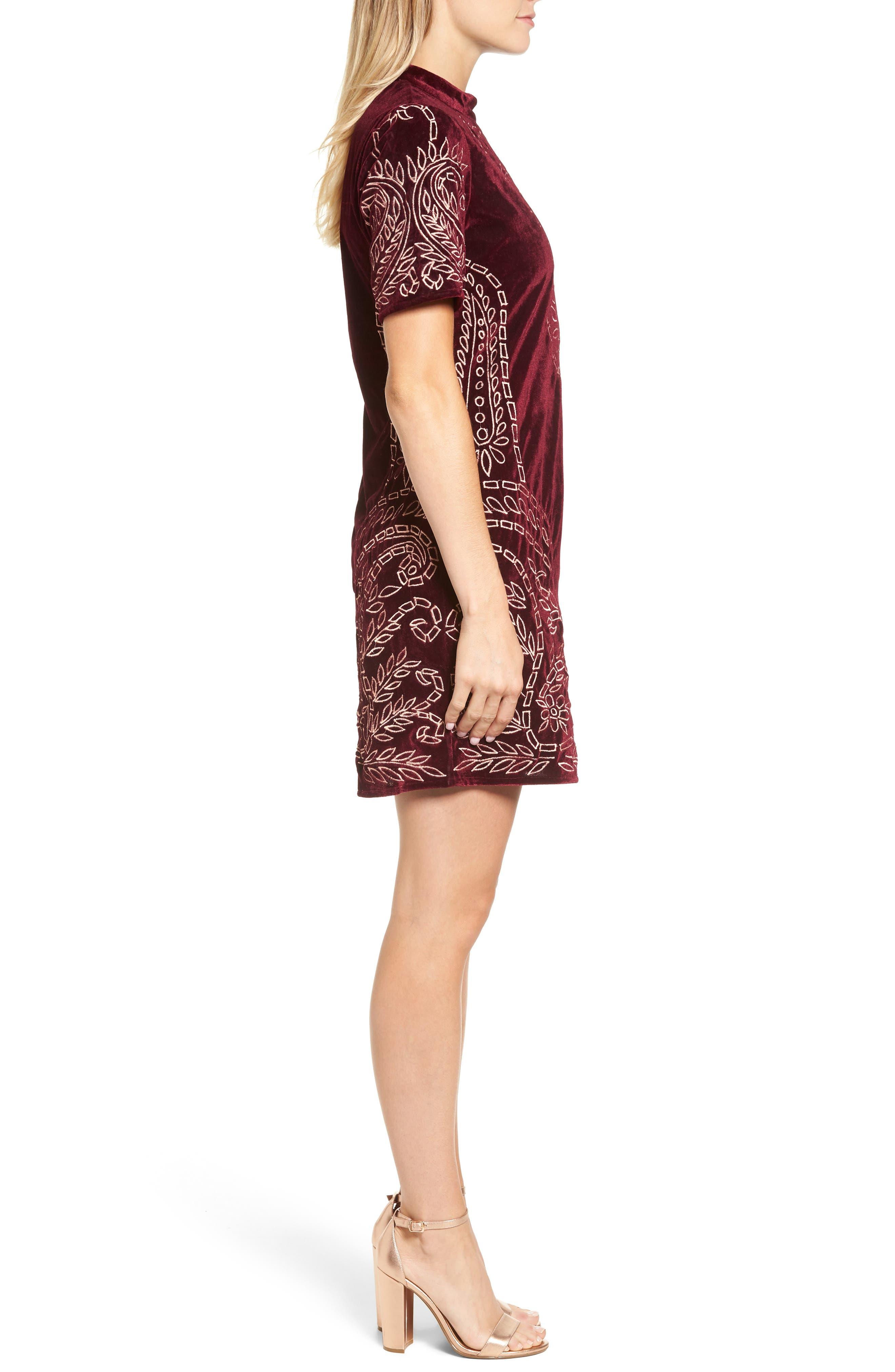 Lily Embroidered Velvet Shift Dress,                             Alternate thumbnail 3, color,