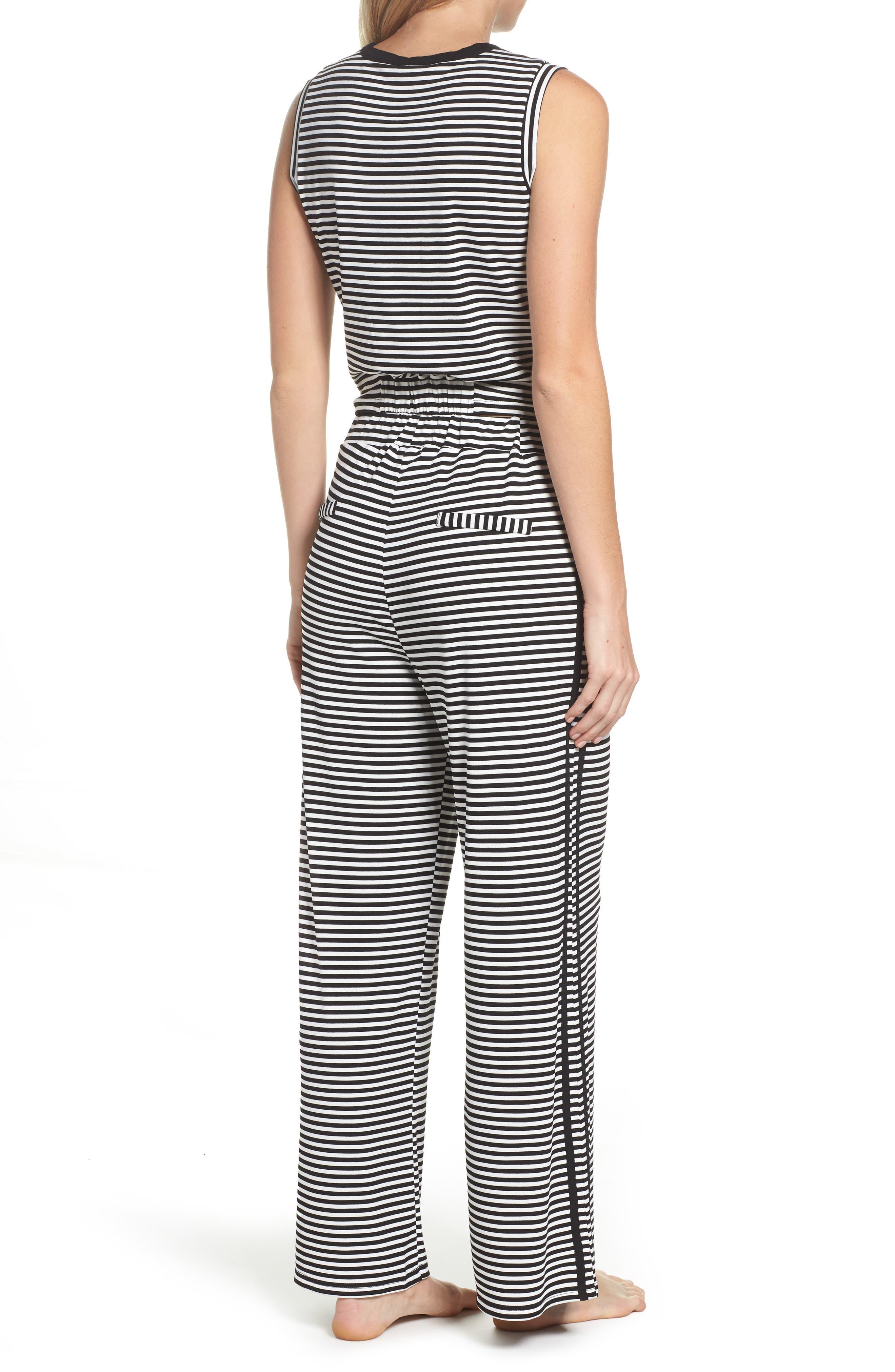 Stripe Pajamas,                             Alternate thumbnail 2, color,                             BLACK/ WHITE