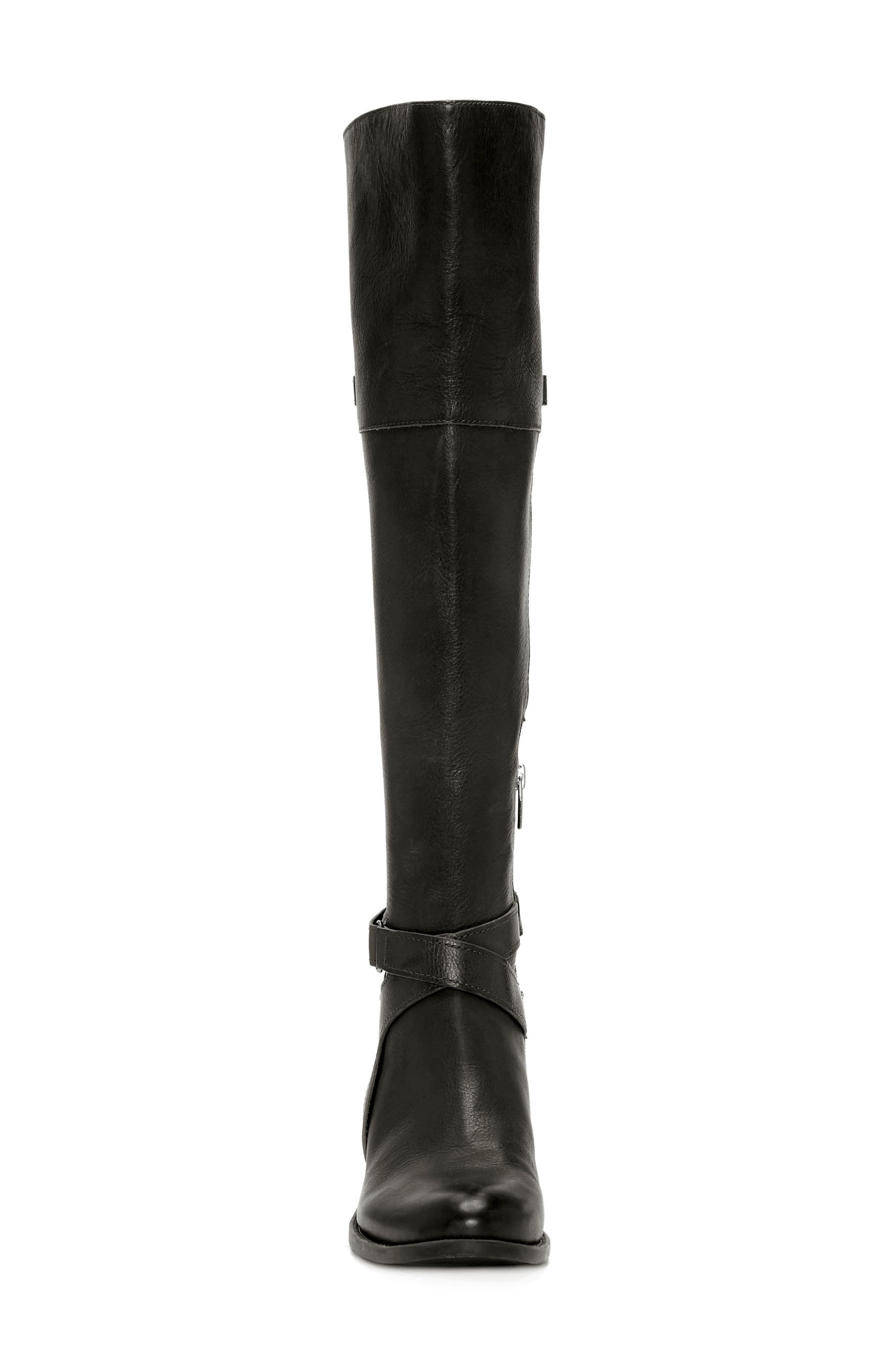 Bestant Over the Knee Boot,                             Alternate thumbnail 4, color,                             BLACK LEATHER WIDE CALF