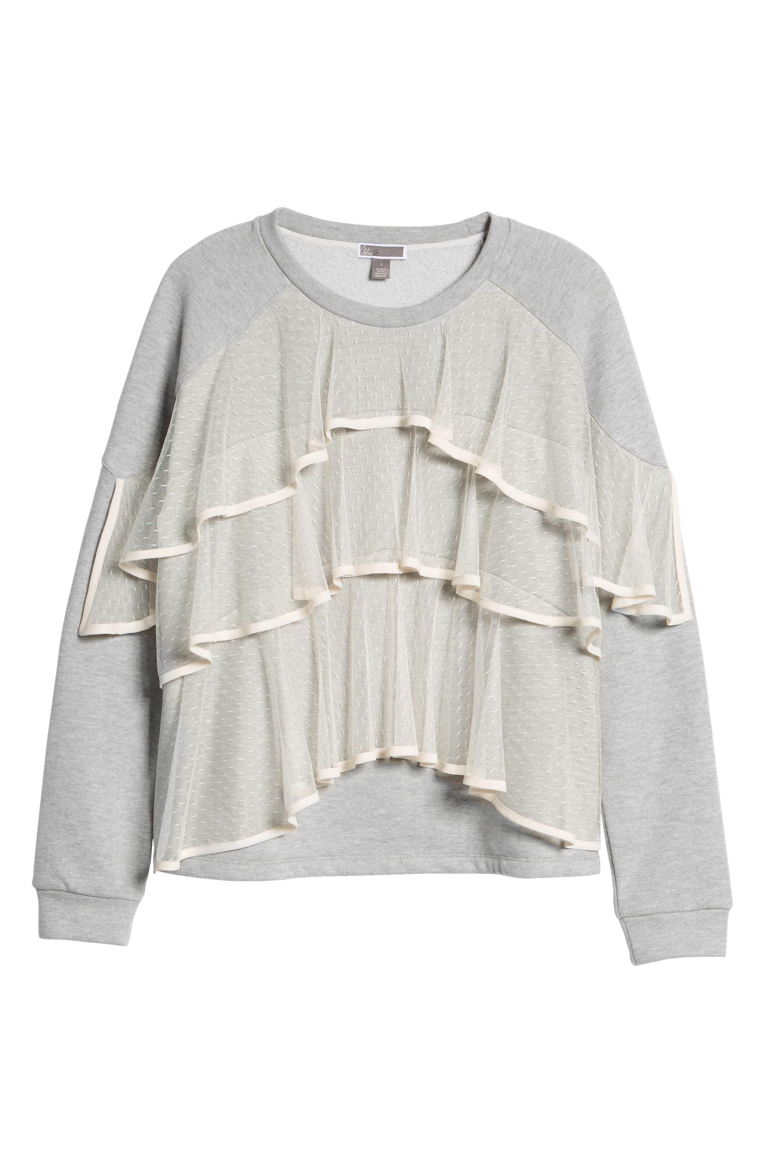 Mesh Ruffle Sweatshirt,                             Alternate thumbnail 6, color,                             033