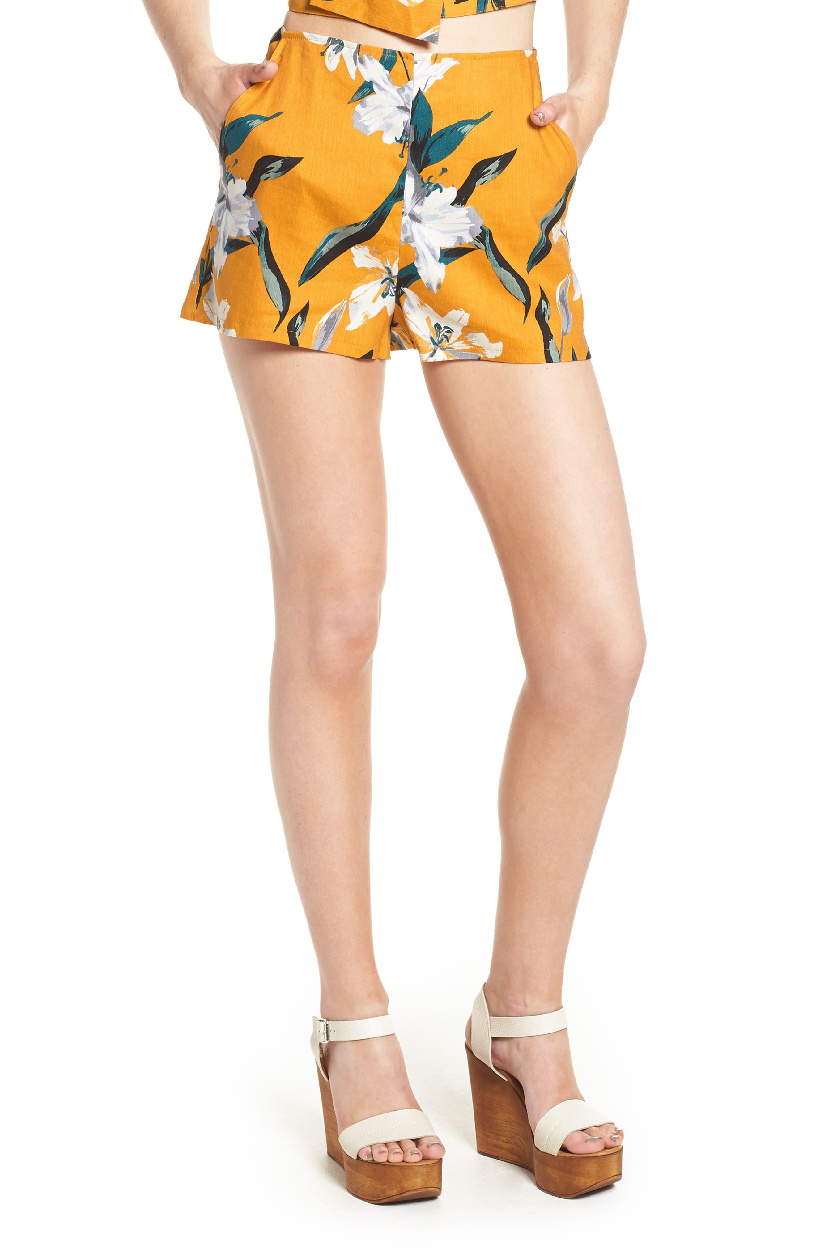 High Waist Linen Blend Shorts,                             Main thumbnail 3, color,