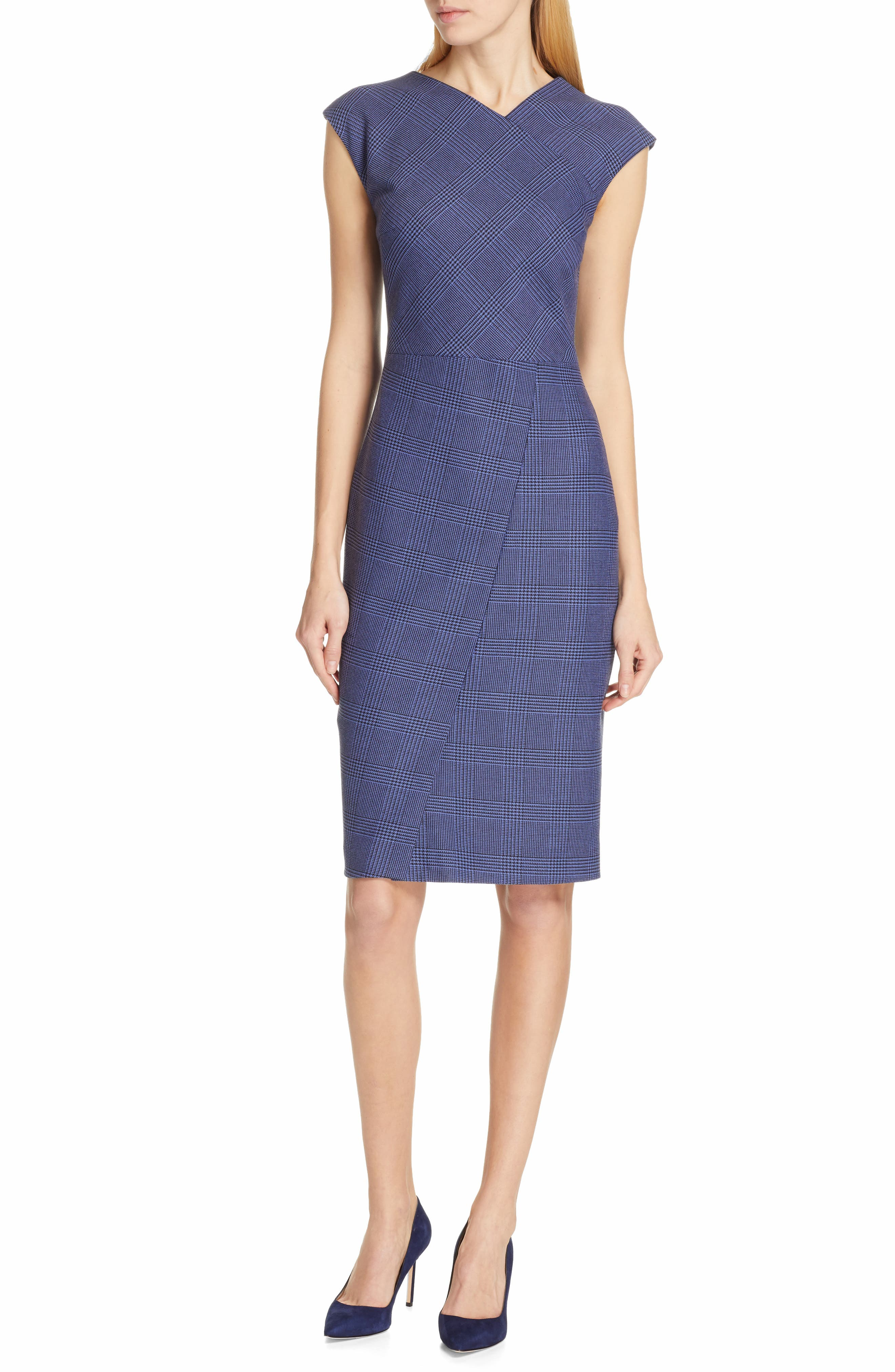 Boss Dechesta Glen Plaid Stretch Shift Dress, Blue
