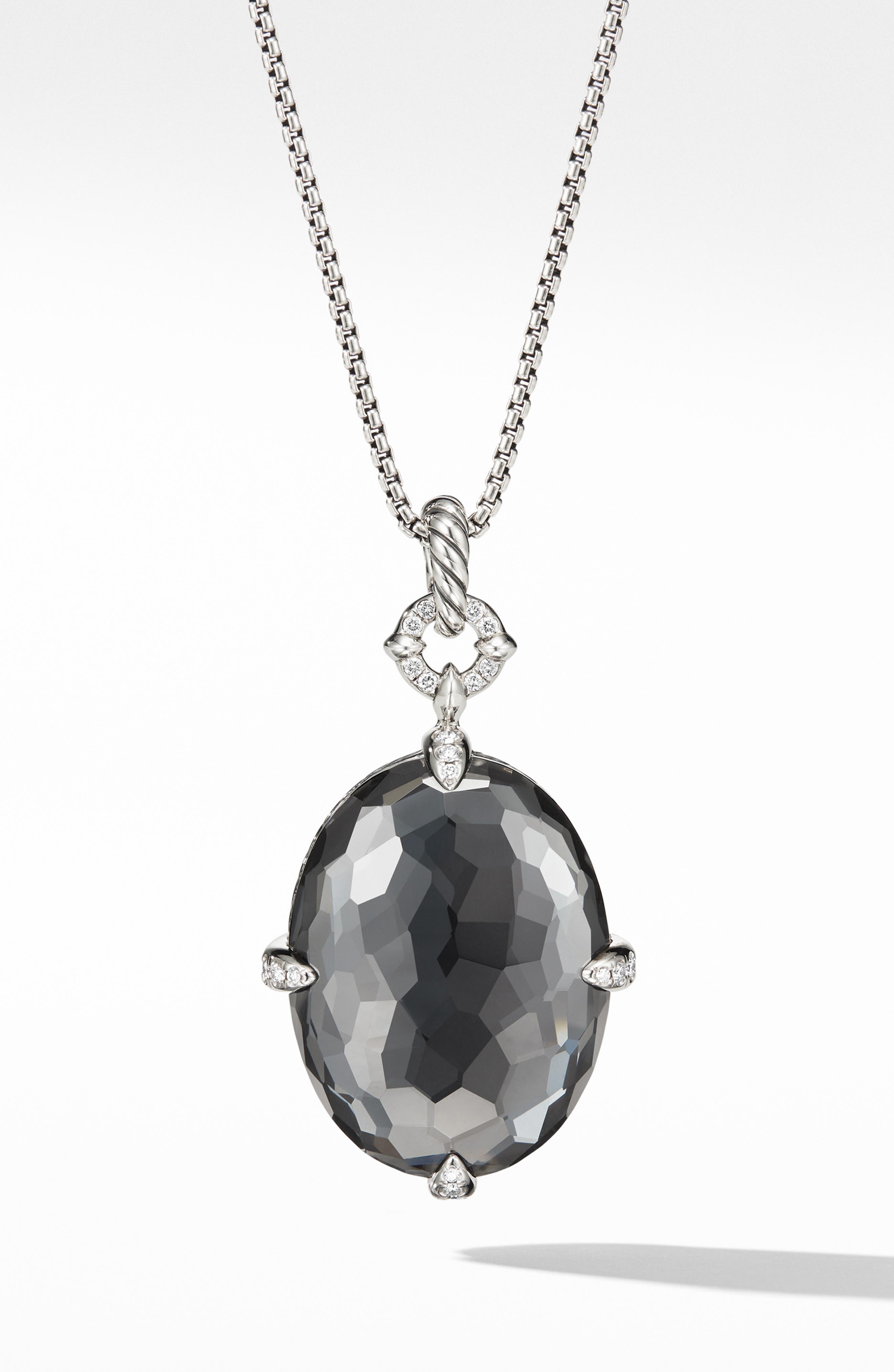 Châtelaine<sup>®</sup> Big Color Pendant Necklace,                             Main thumbnail 1, color,                             SILVER/ DIAMOND/ HEMATITE