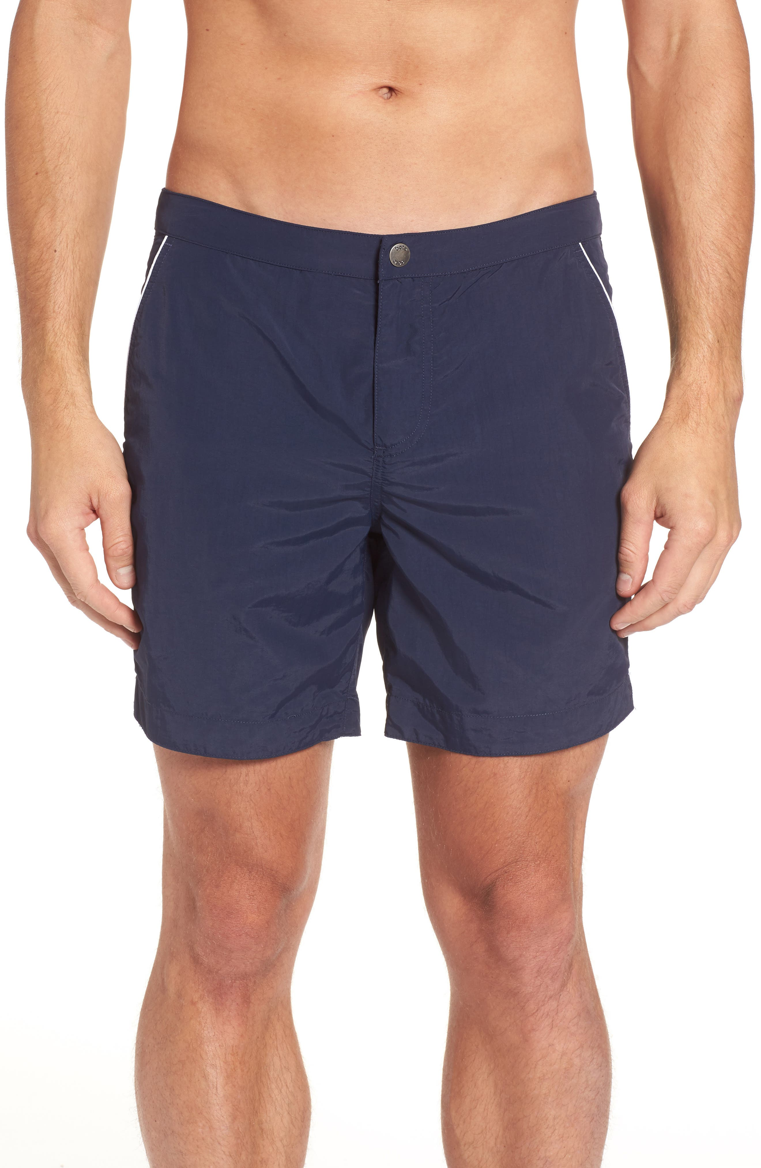 Rio Regular Fit Swim Trunks,                         Main,                         color, NAVY SOLID