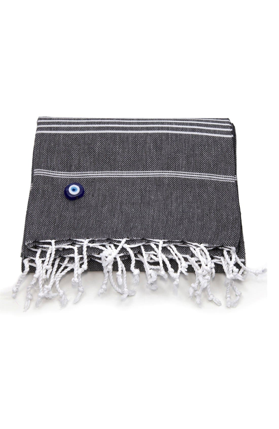 'Lucky' Turkish Pestemal Towel,                         Main,                         color, BLACK