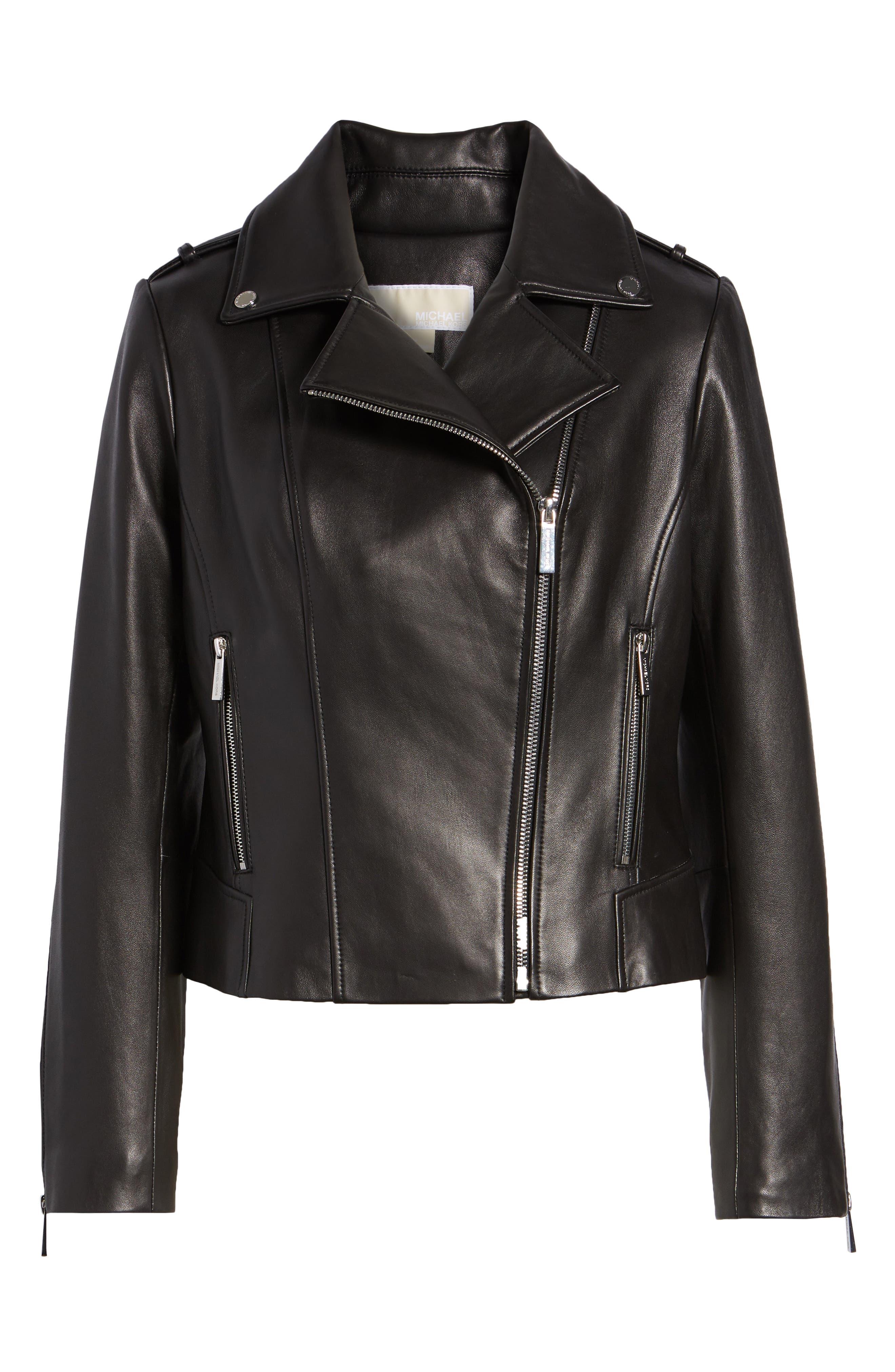 Classic Leather Moto Jacket,                             Alternate thumbnail 10, color,