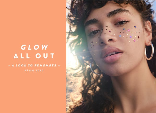 Glow all out: beauty, makeup, perfume, skincare.