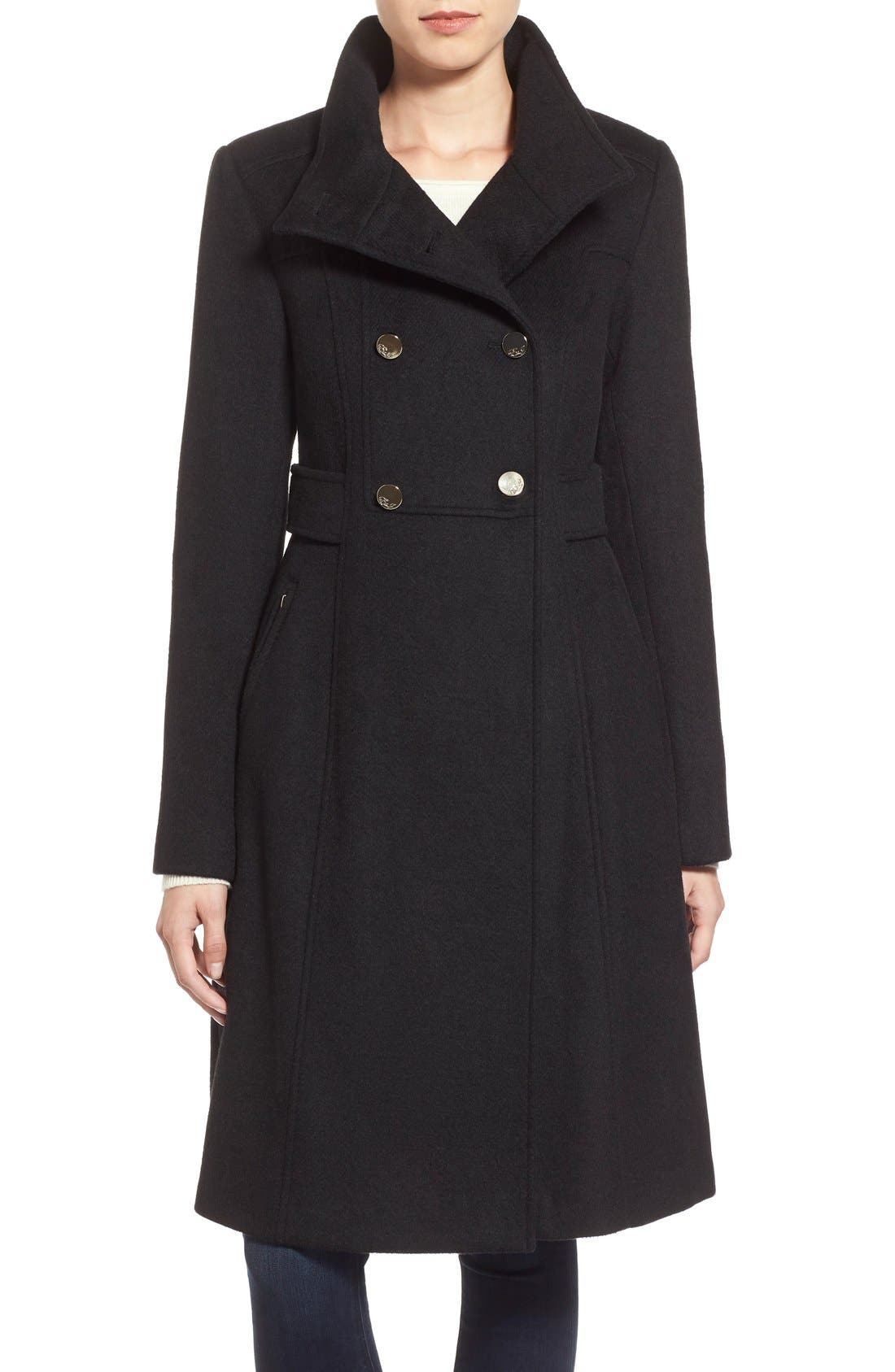 Wool Blend Long Military Coat,                         Main,                         color, 001