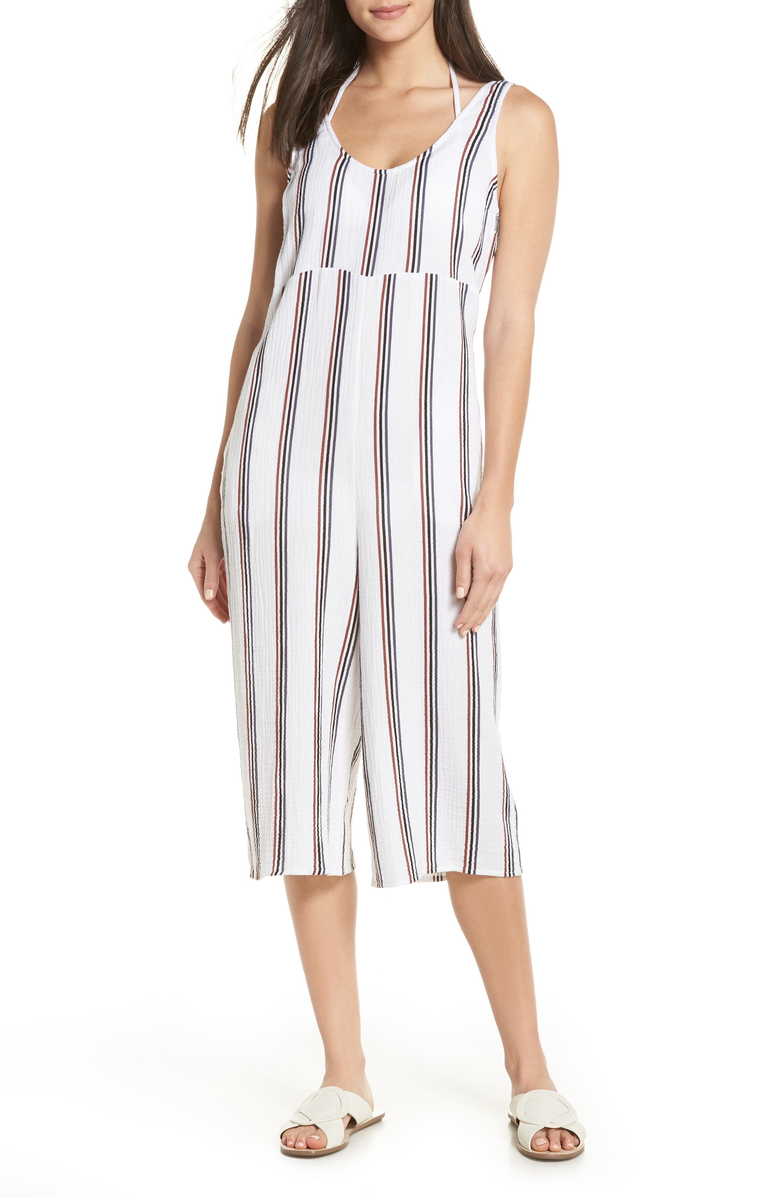 Ramona Cover-Up Jumpsuit,                             Main thumbnail 1, color,                             WHITE STRIPE