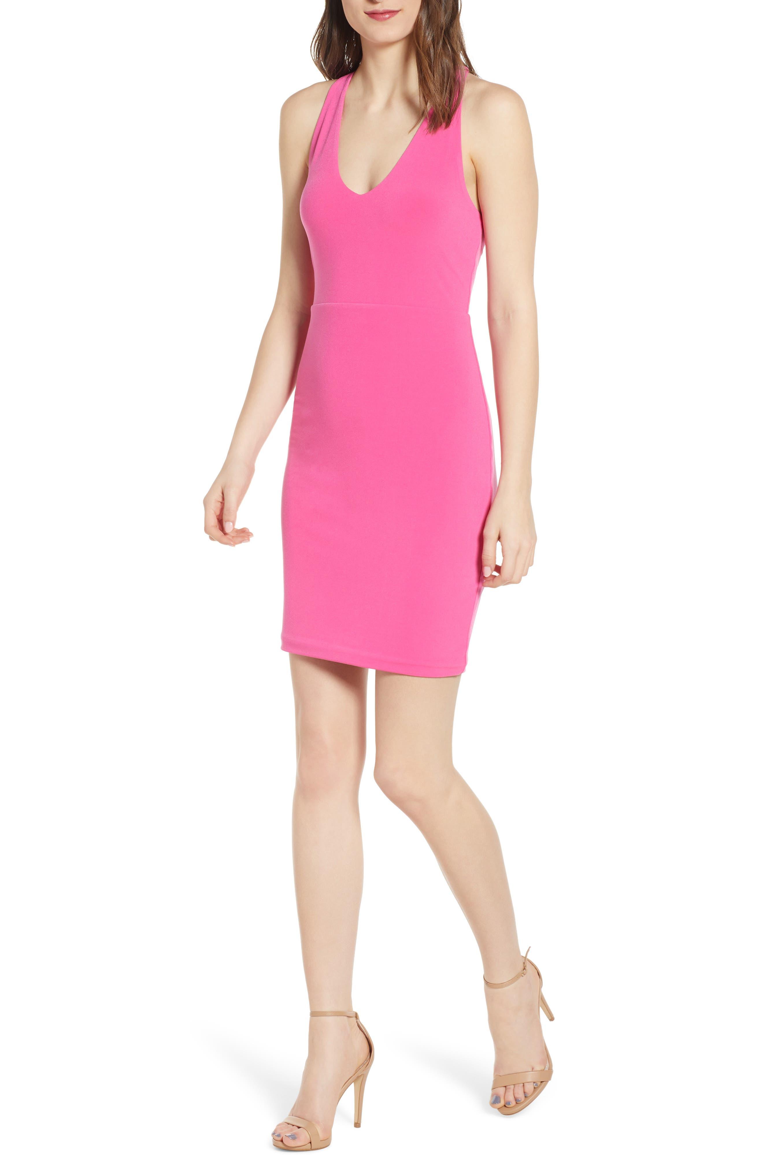 Leith Racerback Body-Con Dress, Pink