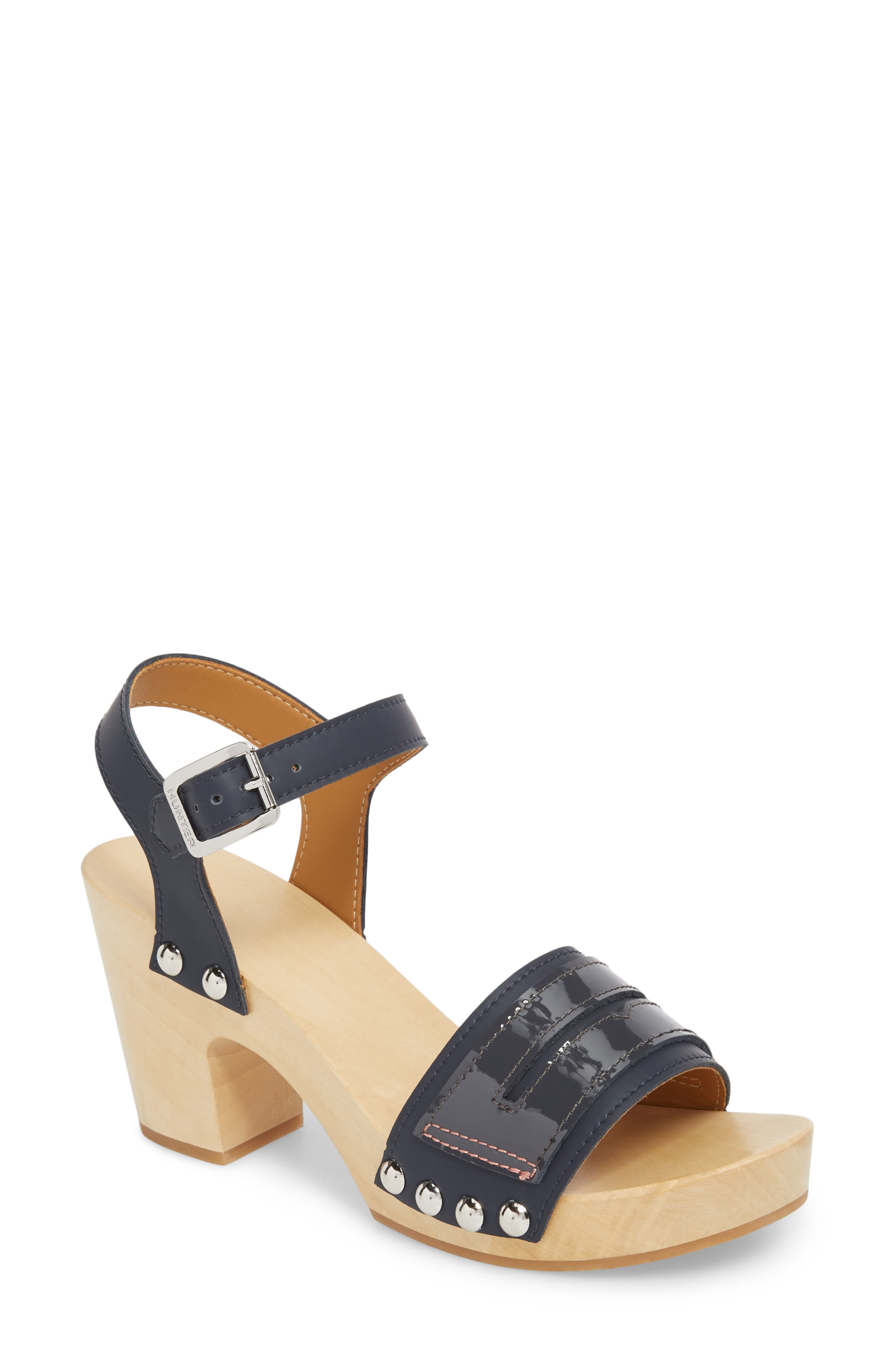 Refined Penny Loafer Clog Sandal,                             Main thumbnail 1, color,                             NAVY