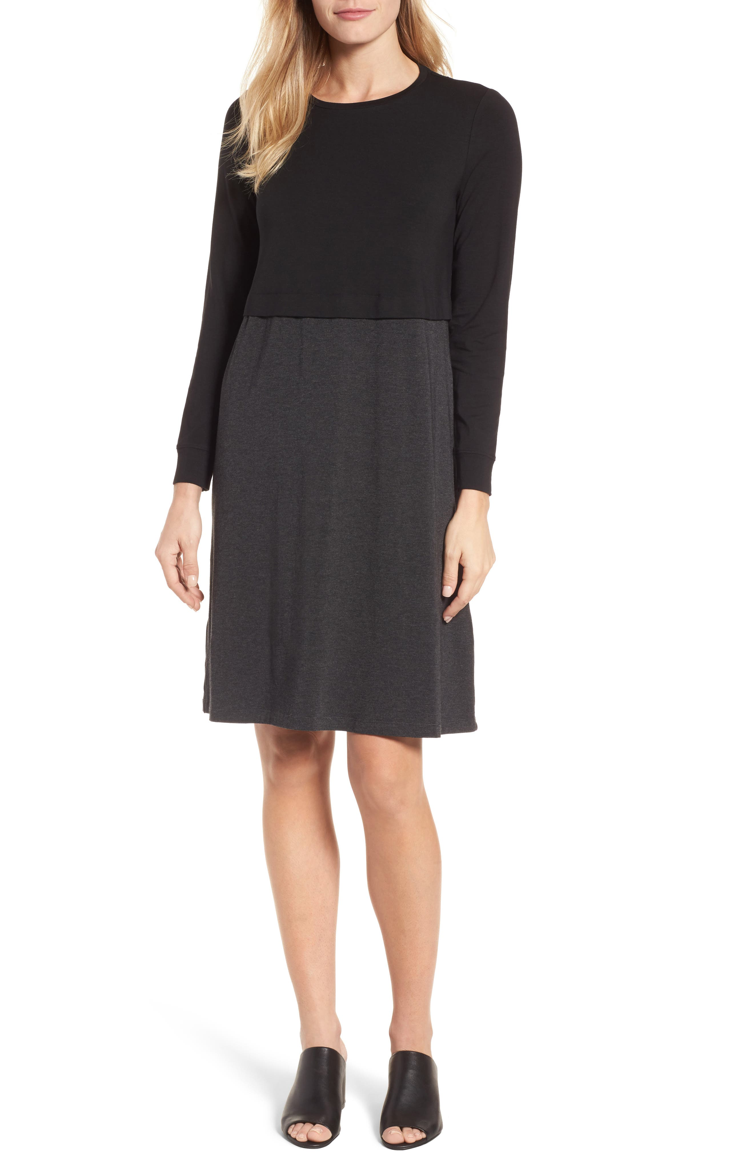 EILEEN FISHER,                             Stretch Tencel<sup>®</sup> A-Line Dress,                             Main thumbnail 1, color,                             010