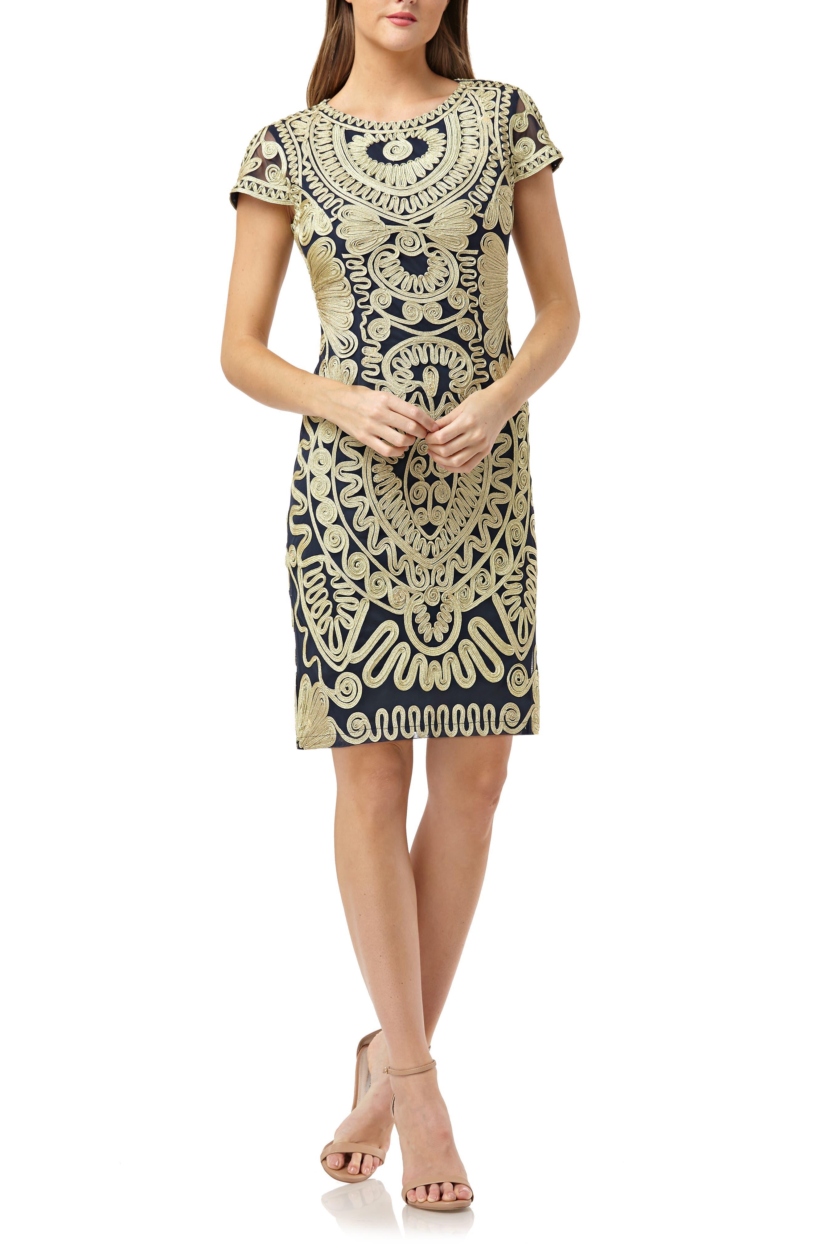 Soutache Dress,                         Main,                         color, GOLD/ NAVY